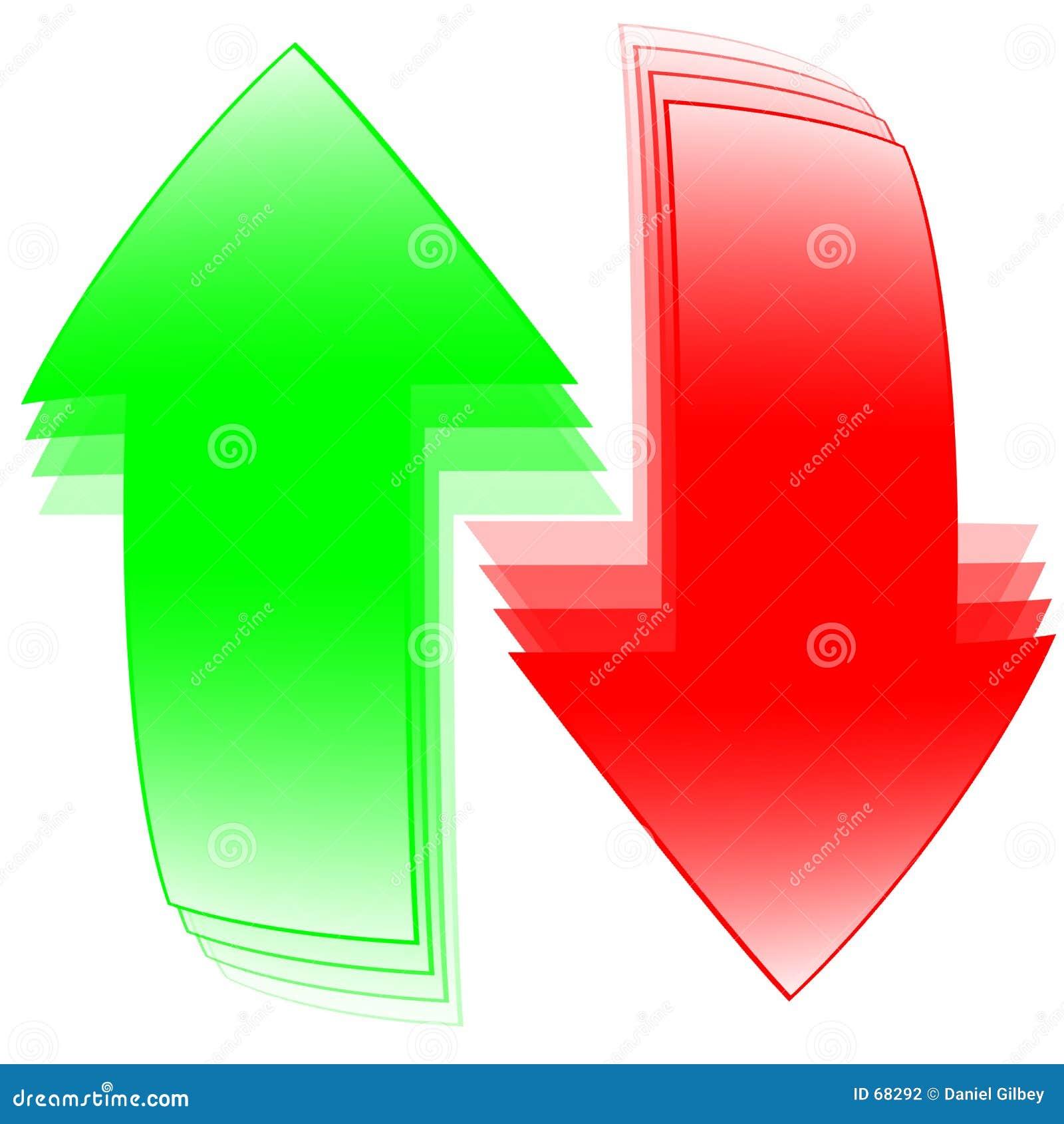 Flèches rouges et vertes