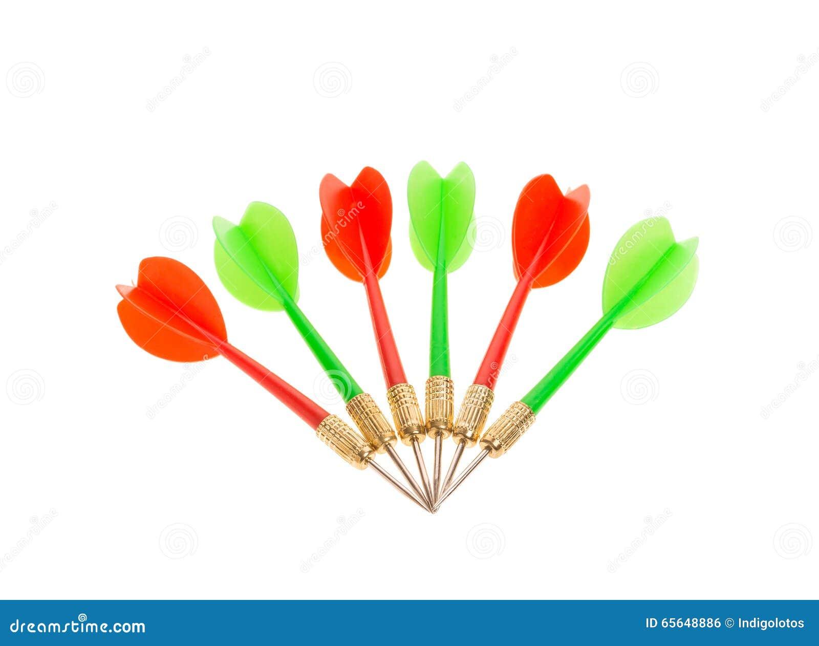 Flèches vertes et rouges de dard