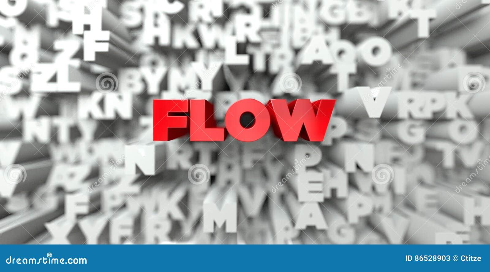 FLÖDE - Röd text på typografibakgrund - 3D framförde fri materielbild för royalty