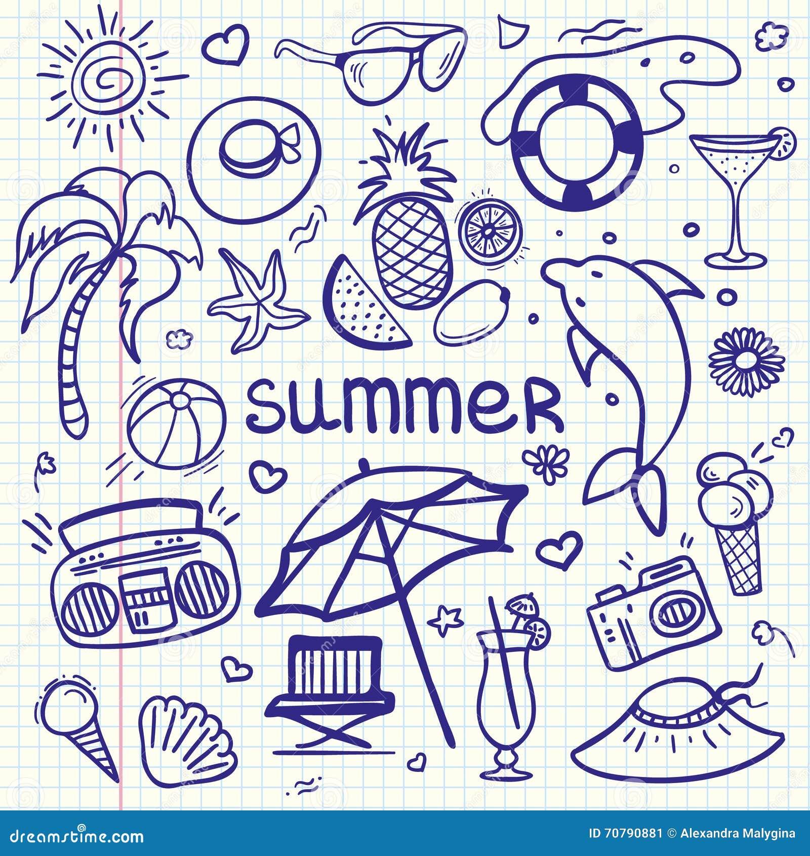 Flüchtige Linie Kunst Gekritzelkarikatursatz des Vektors von Gegenständen und von Symbolen für Sommerferien
