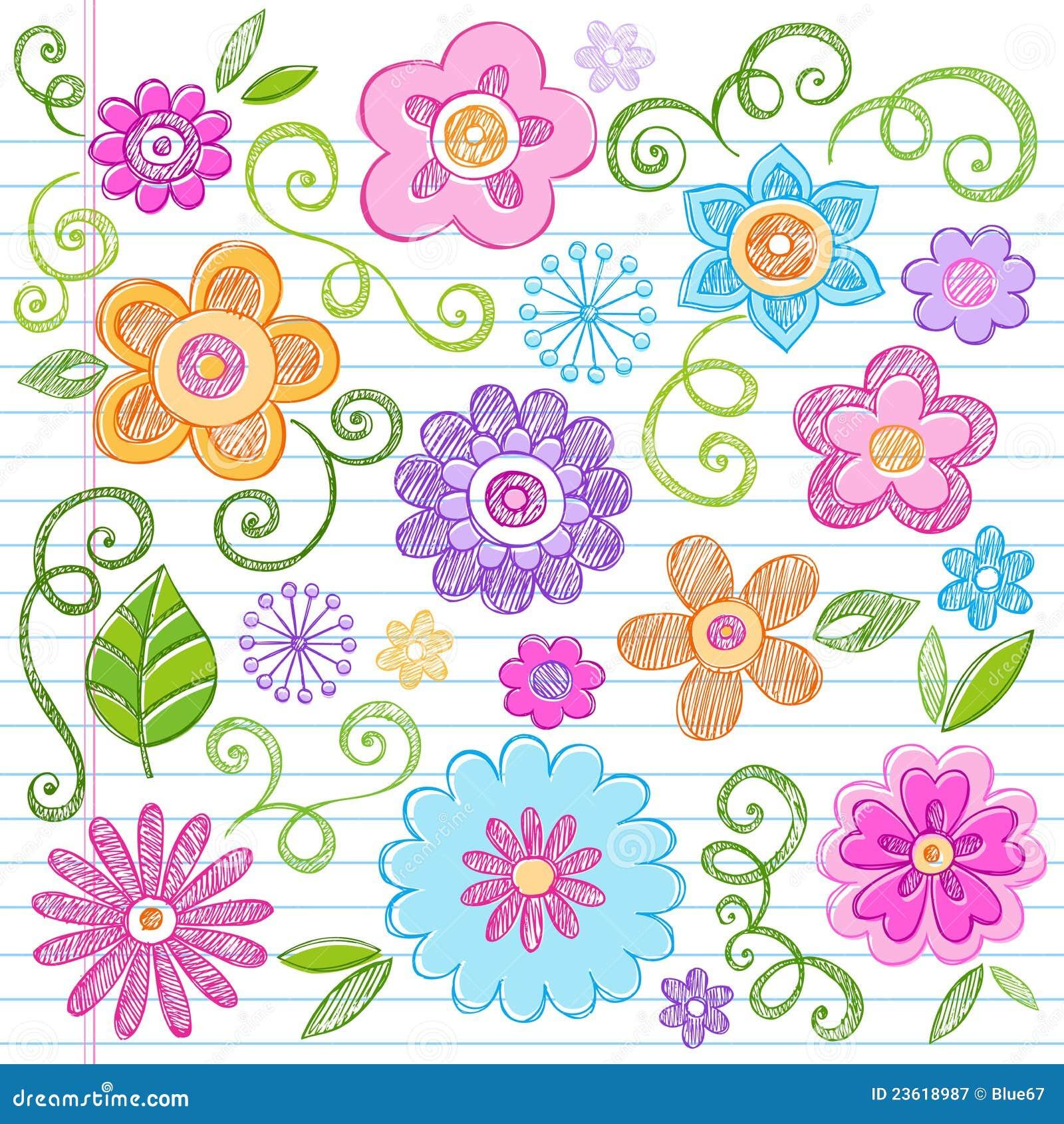Flüchtiges Blumen-Notizbuch kritzelt vektorset