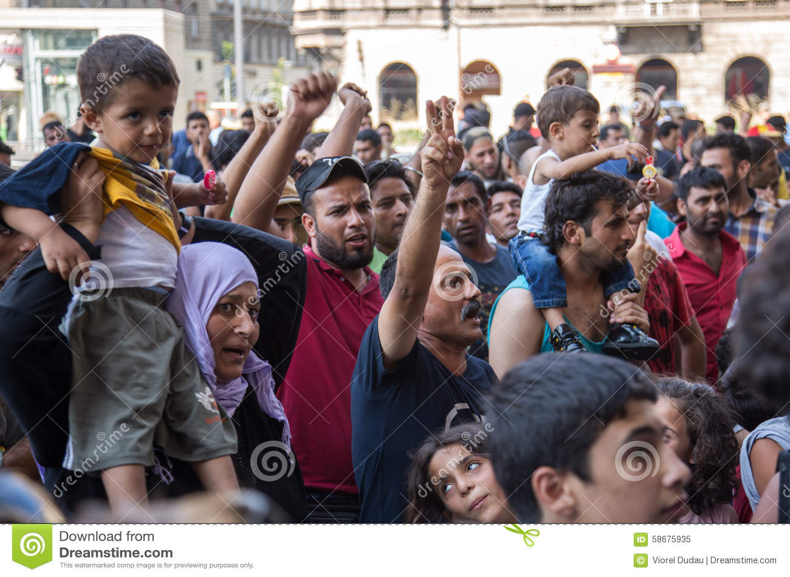 Flüchtlingsprotest an Keleti-Bahnstation in Budapest