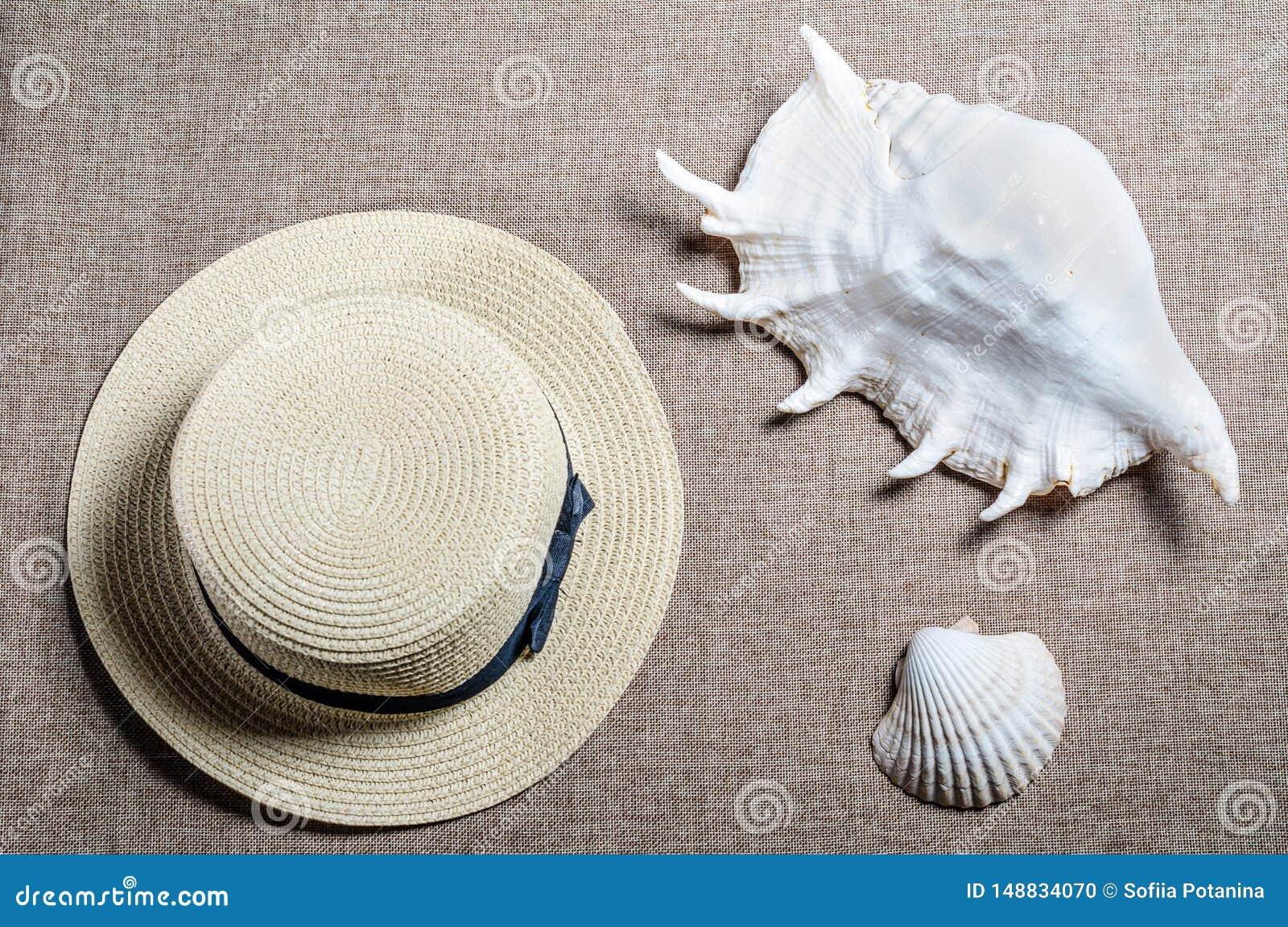 Flache Ansicht der Ferien mit Strohhut und Meershellssea Oberteilen