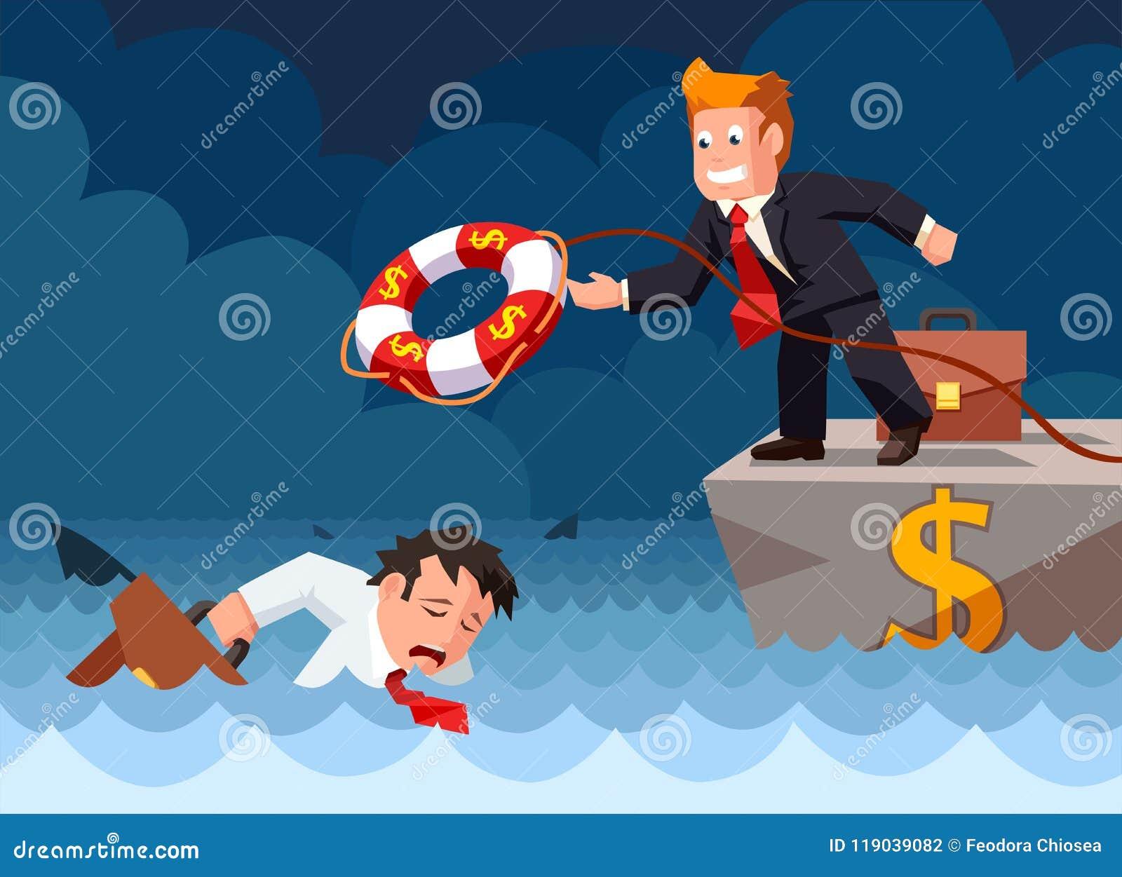 Flache Art des Karikaturvektors eines Bankangestellten, der einen Rettungsring zu einem ertrinkenden Geschäftsmann in der Gefahr