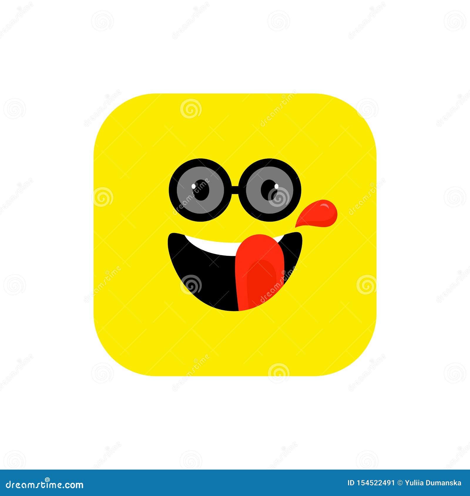Flache Art glücklicher Emoji-Ikone Netter Emoticon gerundetes Quadrat zum Weltlächeln-Tag Nett, Lol, Gesicht genießend bunt