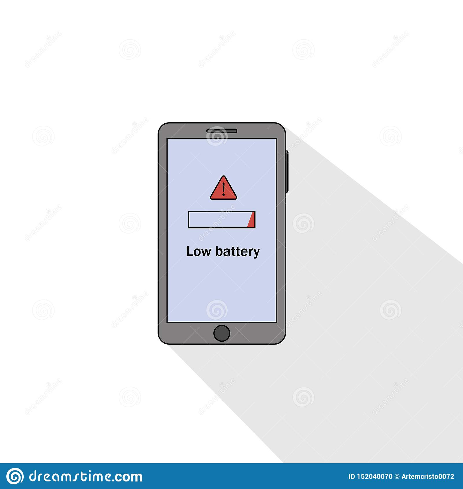 Flache Art Smartphone-schwacher Batterie Auch im corel abgehobenen Betrag