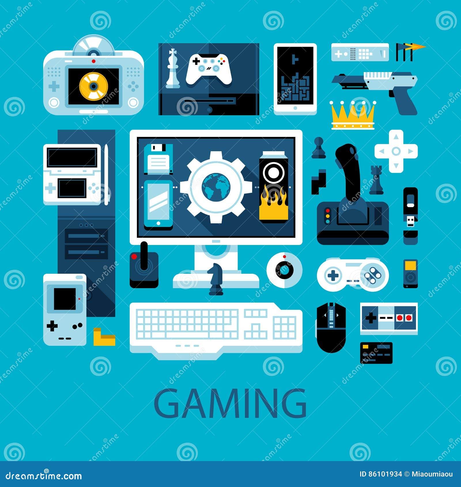 Flache bunte Illustration über Videospiele, Gamers und elektronische Unterhaltung