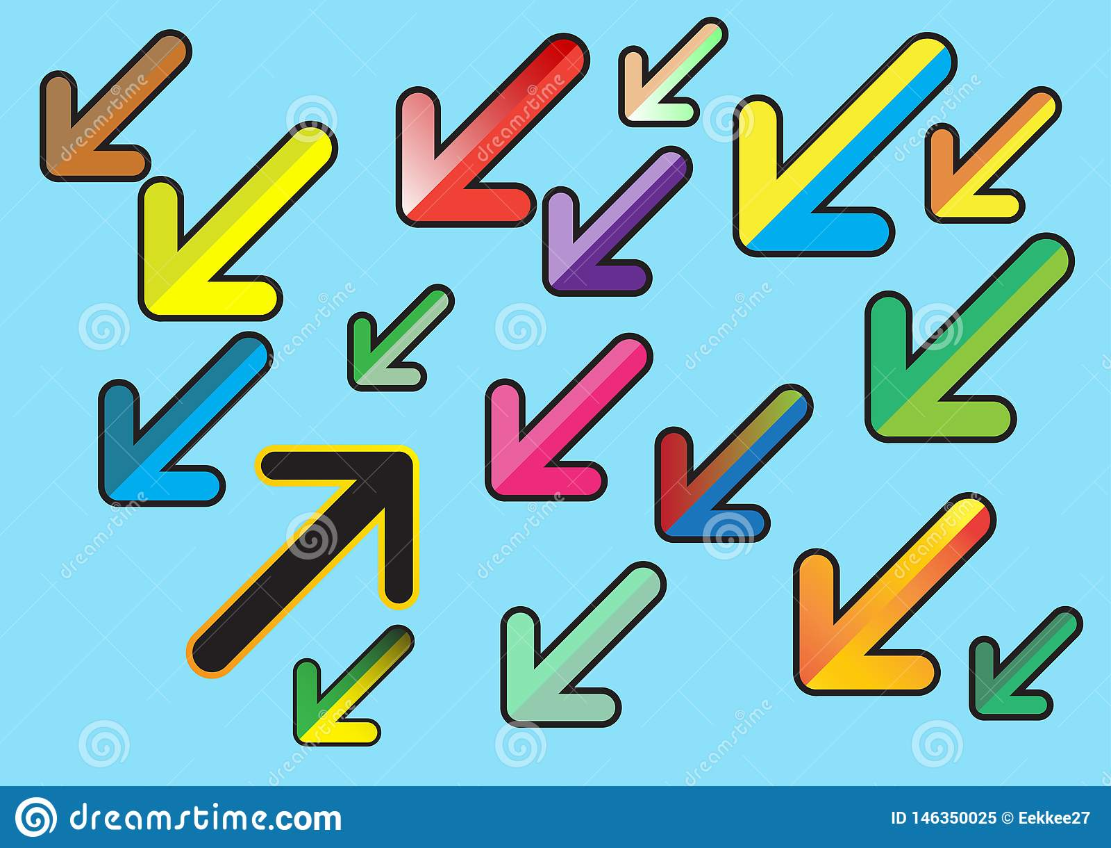 Flache Entwurfsart der bunten Pfeile Vektor Abbildung