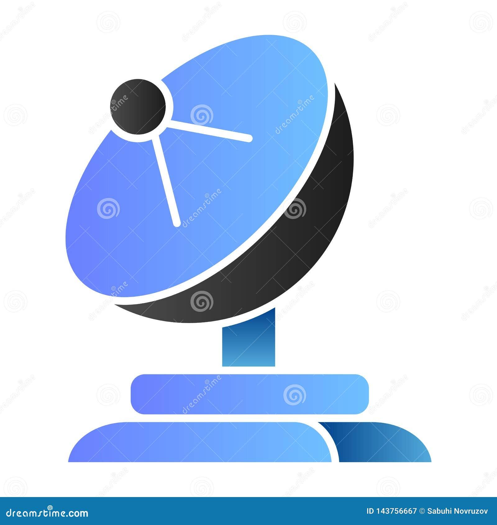 Flache Ikone der Satellitenschüssel Antennenfarbikonen in der modischen flachen Art Fernsehsteigungs-Artentwurf, bestimmt für Net