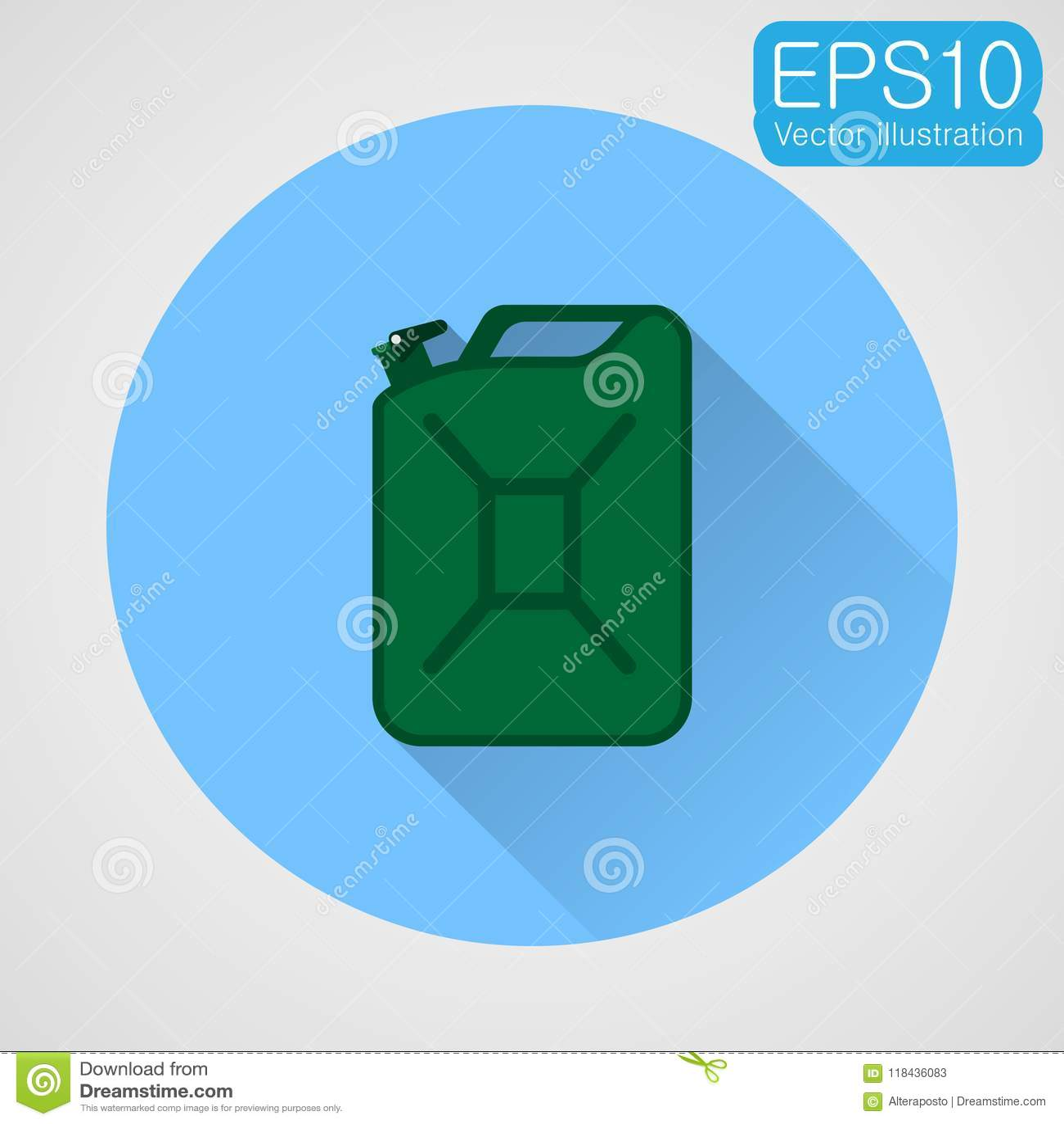 Flache Ikone des Brennstoffkanisters