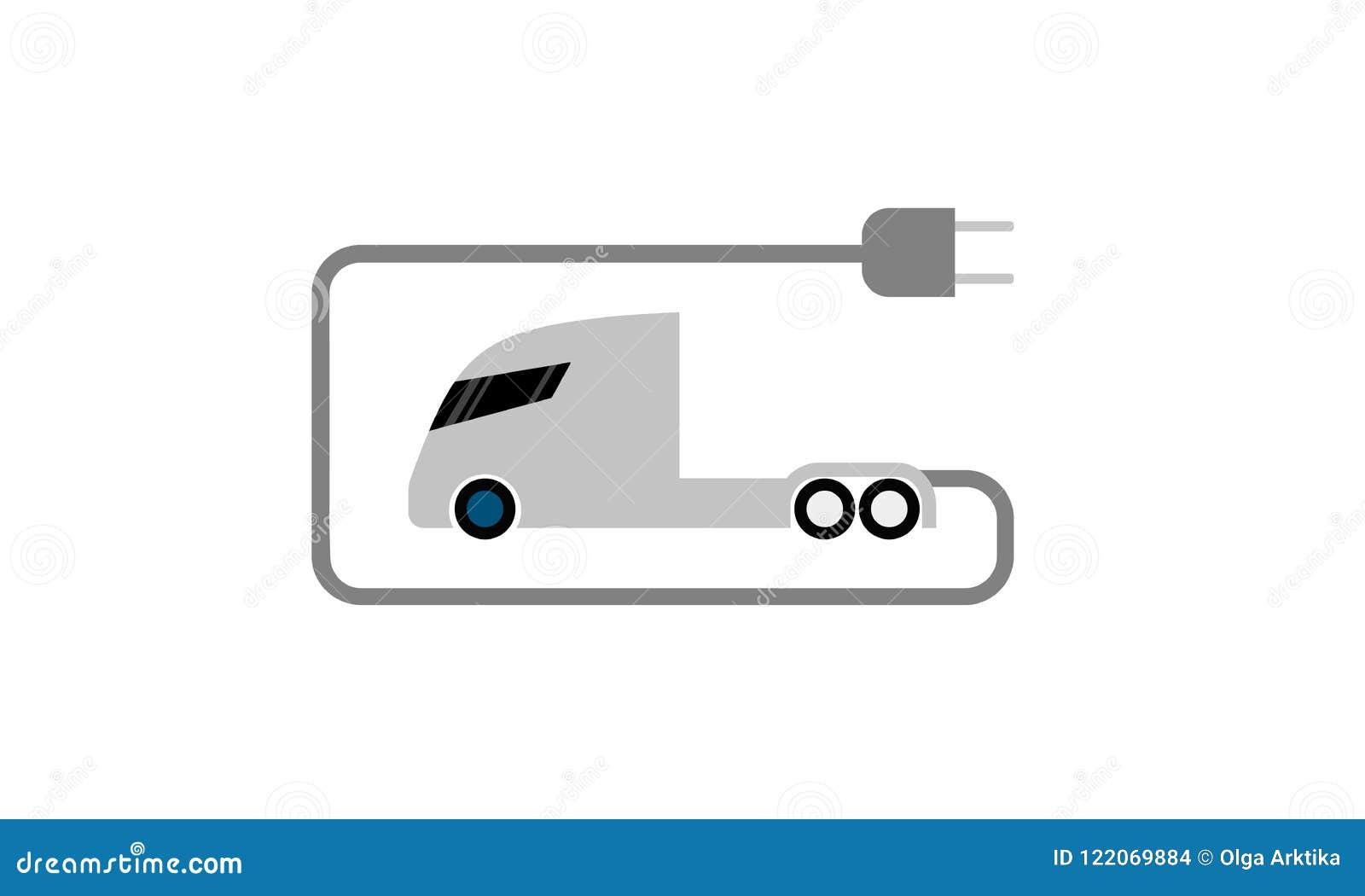 Flache Ikone des elektrischen LKWs