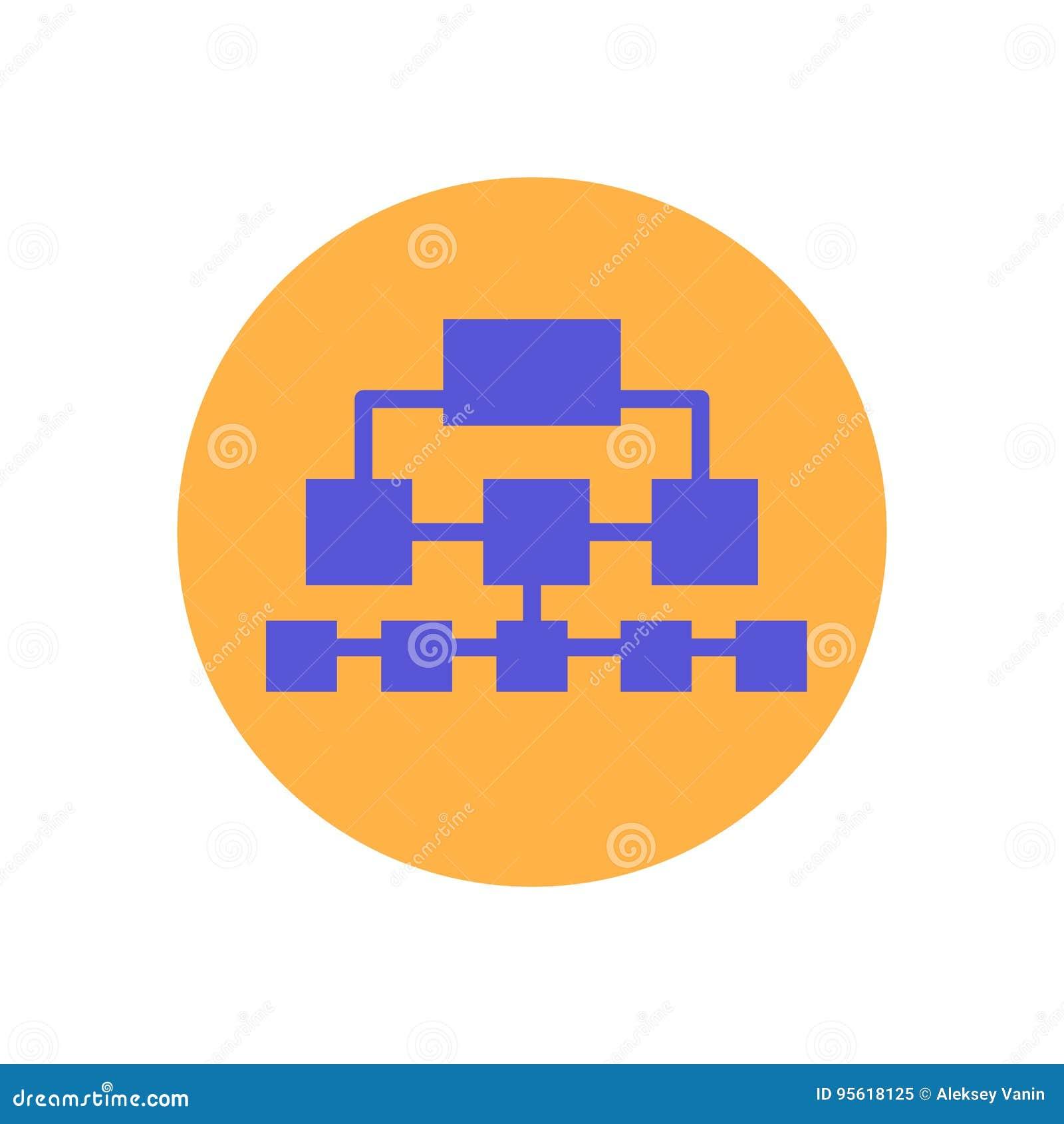 Flache Ikone des Flussdiagramms Runder bunter Knopf, Kreisvektorzeichen Sitemap, Logoillustration