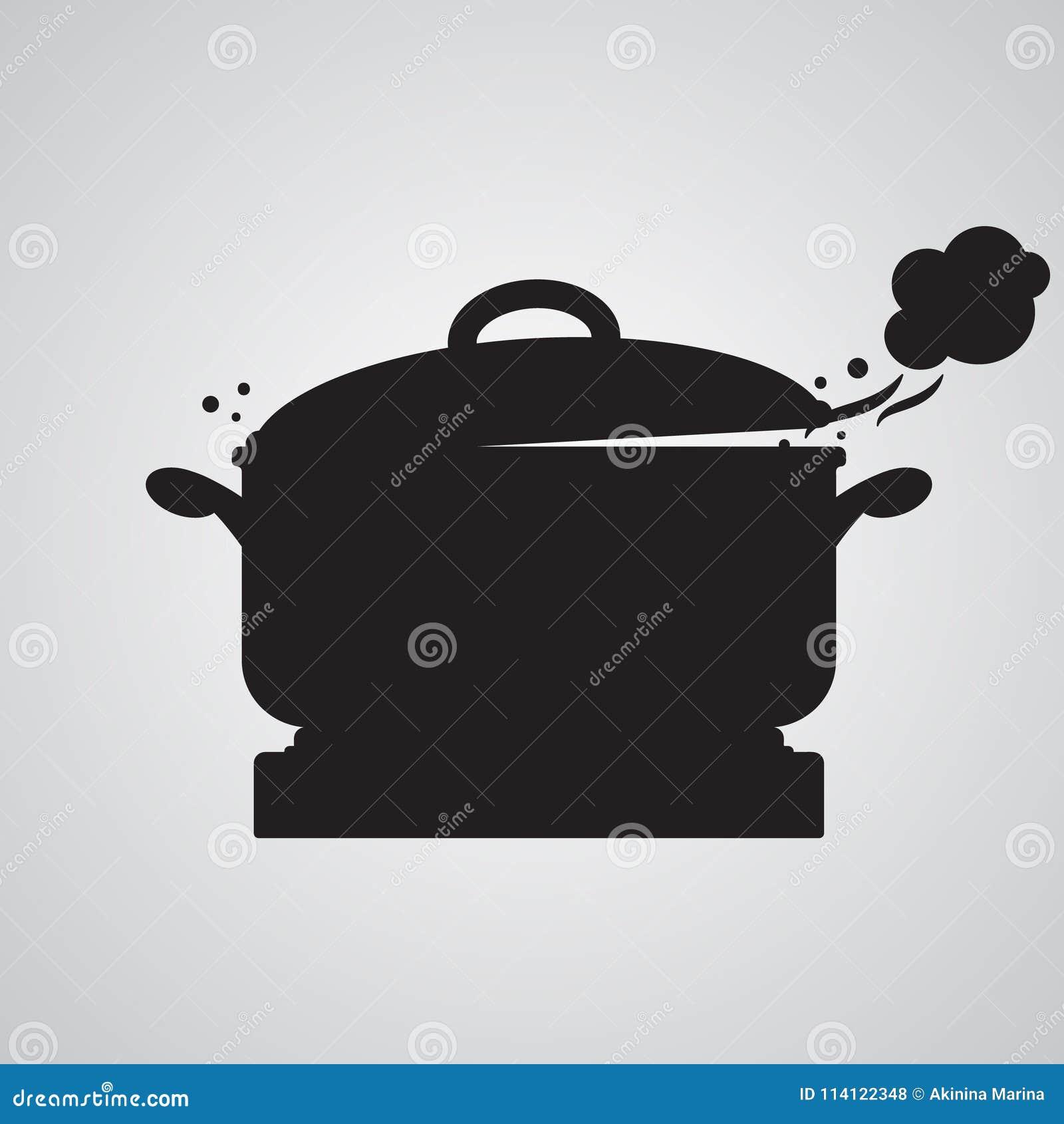 Flache Ikone des Schattenbildes, einfaches Vektordesign Pan auf Kocher mit h