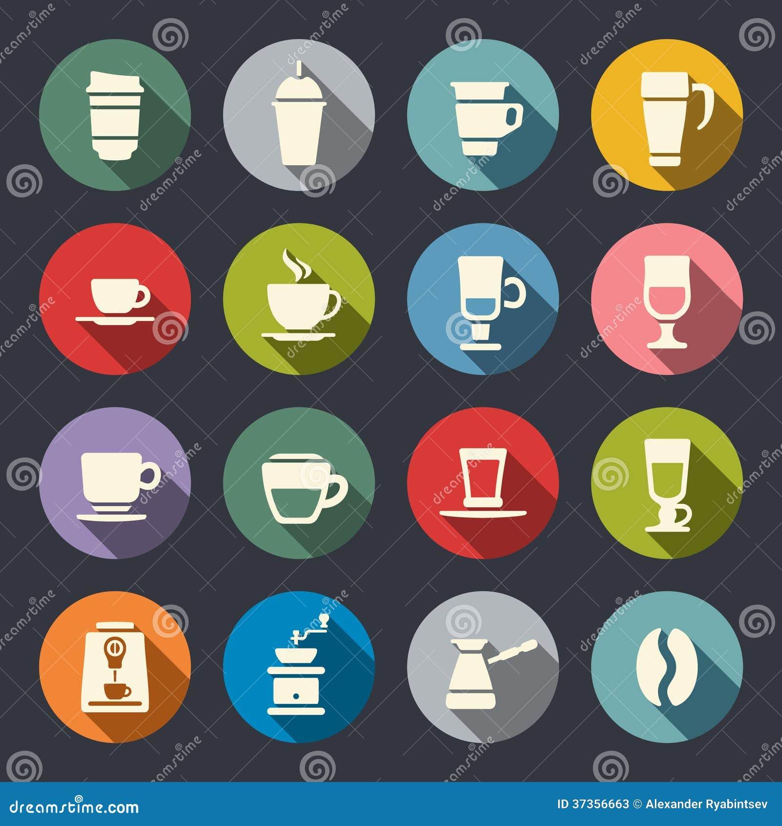 Flache Ikonen des Kaffees. Vektorillustration