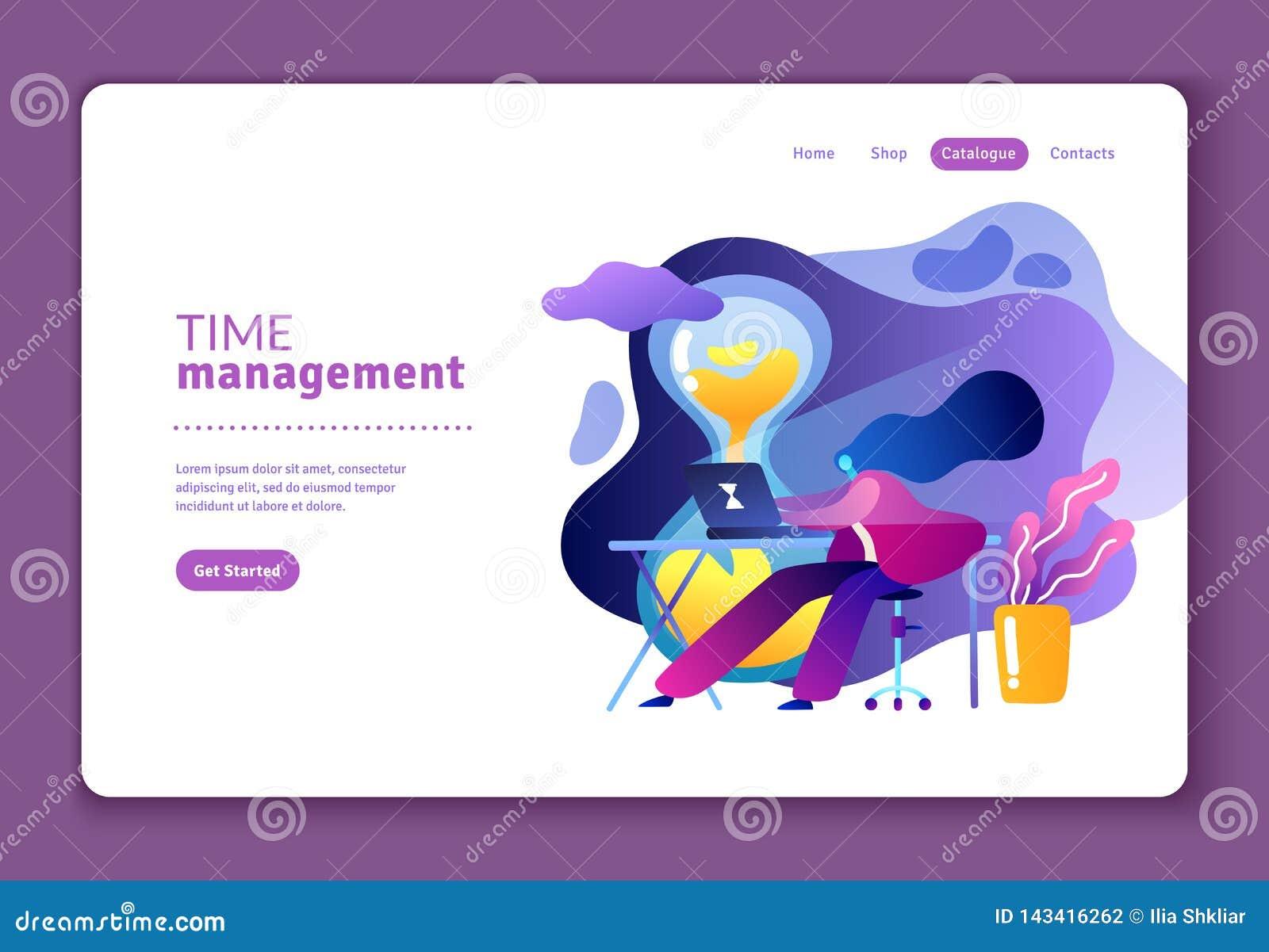 Flache Illustration über Management der effektiven Nutzzeit