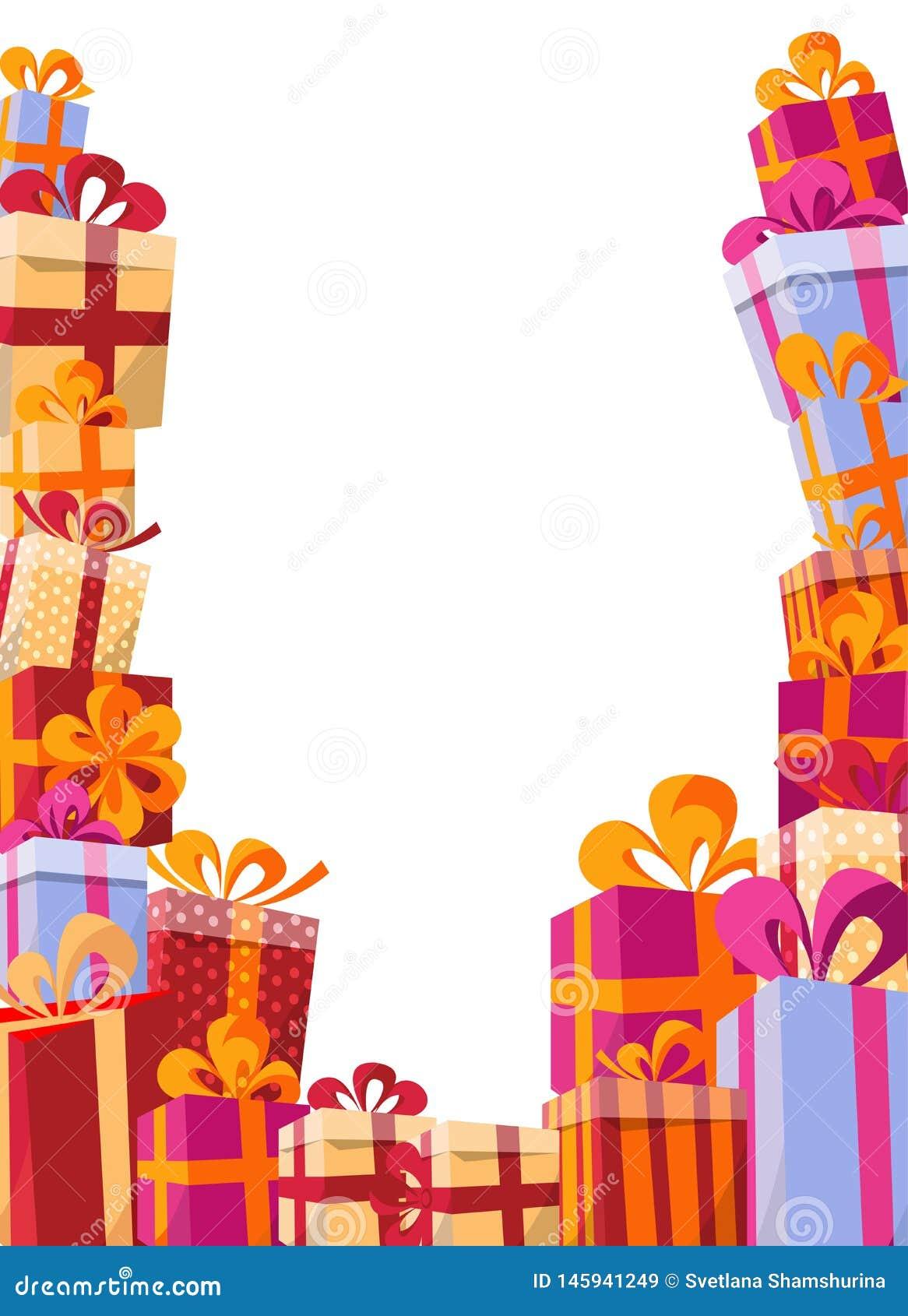 Flache Illustration des Volumenart-Hintergrundes - Berg von Geschenken in den hellen Kästen mit Bändern und verschiedenen Beschaf