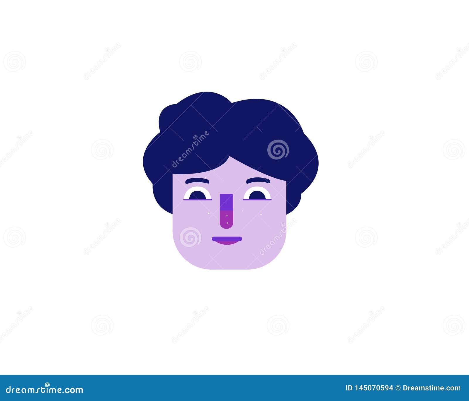 Flache Illustration eines purpurroten Gesichtes eines Mannes