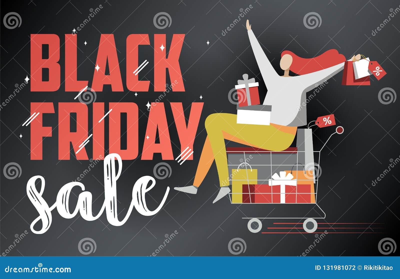 Flache Illustration schwarzen Freitag-Verkaufs auf Dunkelheit
