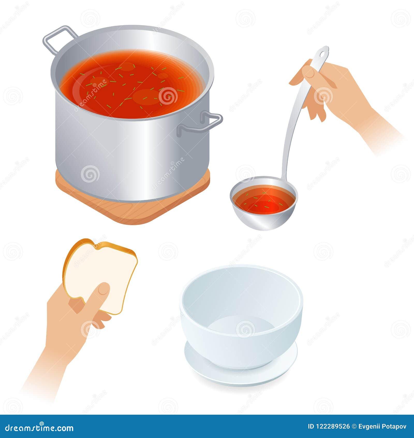 Flache isometrische Illustration der Kasserolle mit Tomatensuppe, Schüssel,
