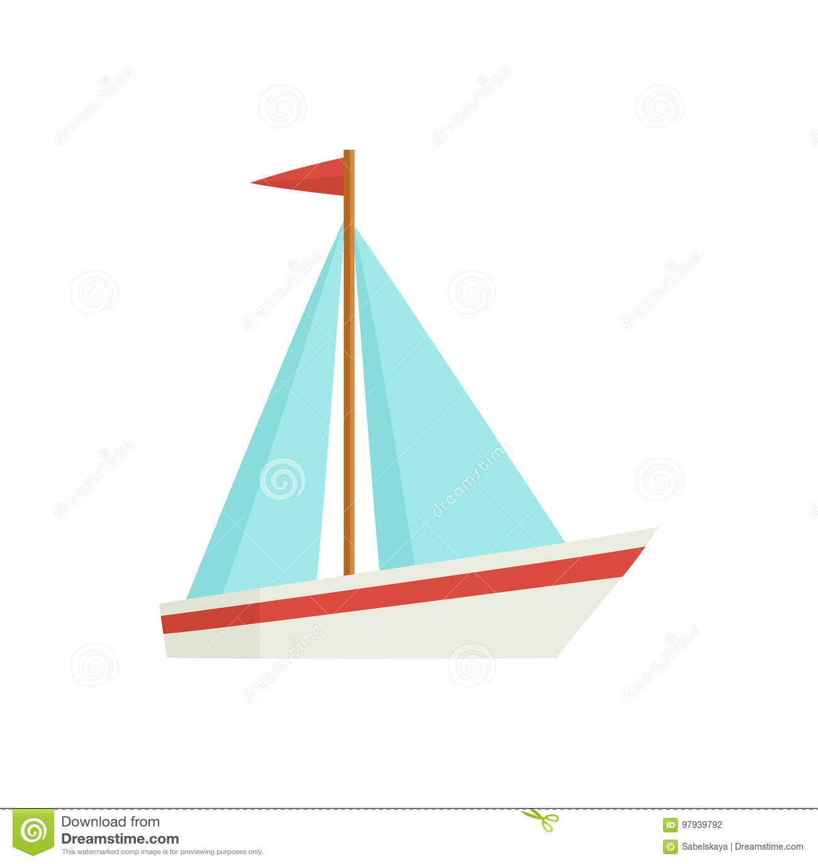 Flache Karikatur wenig Segelschiff, Boot, Segelboot
