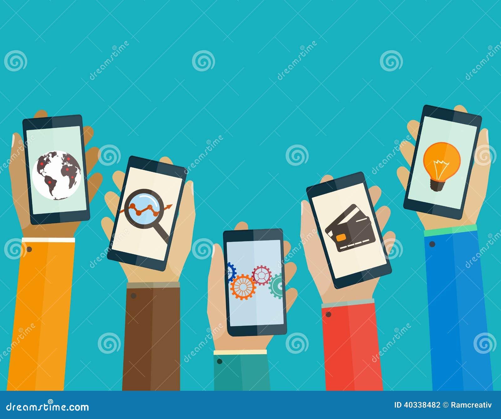 Flache Konzept des Entwurfes bewegliche apps ruft in den Händen der Leute an