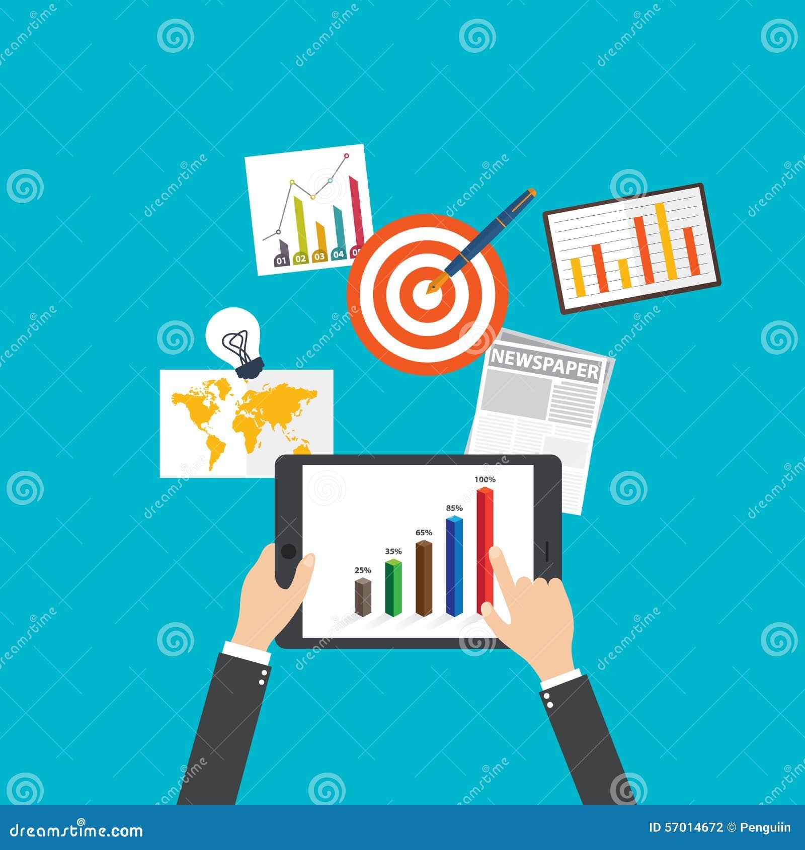 Flache Konzepte des Entwurfes für Geschäft und Finanzierung on-line--businessl Nachrichten, Vektorillustration