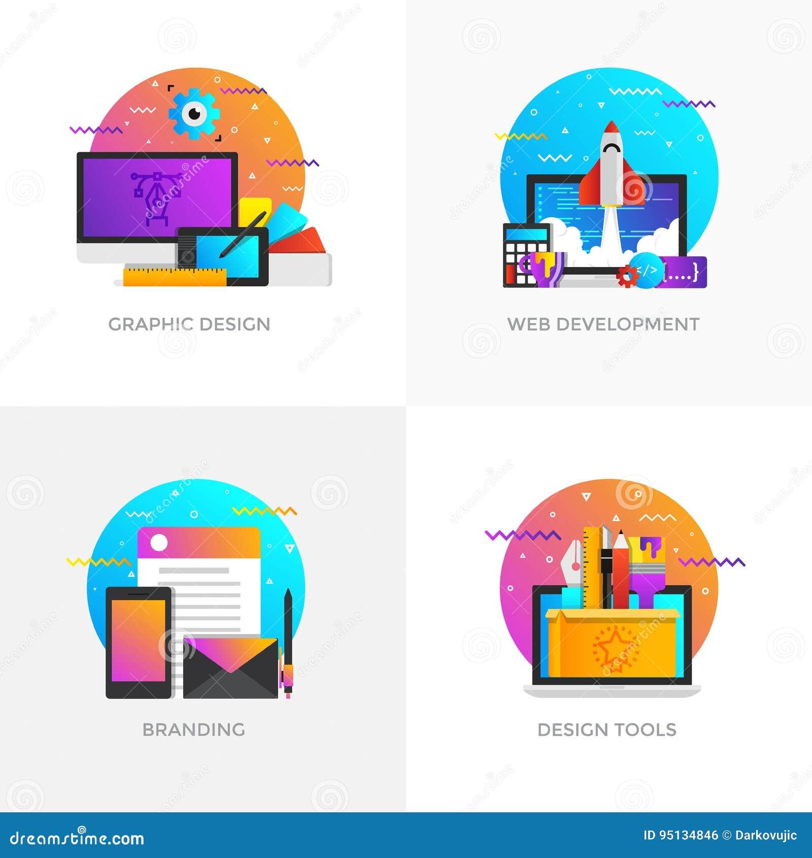 Flache Konzepte des Entwurfes - Grafikdesign, Web-Entwicklung, Brandi