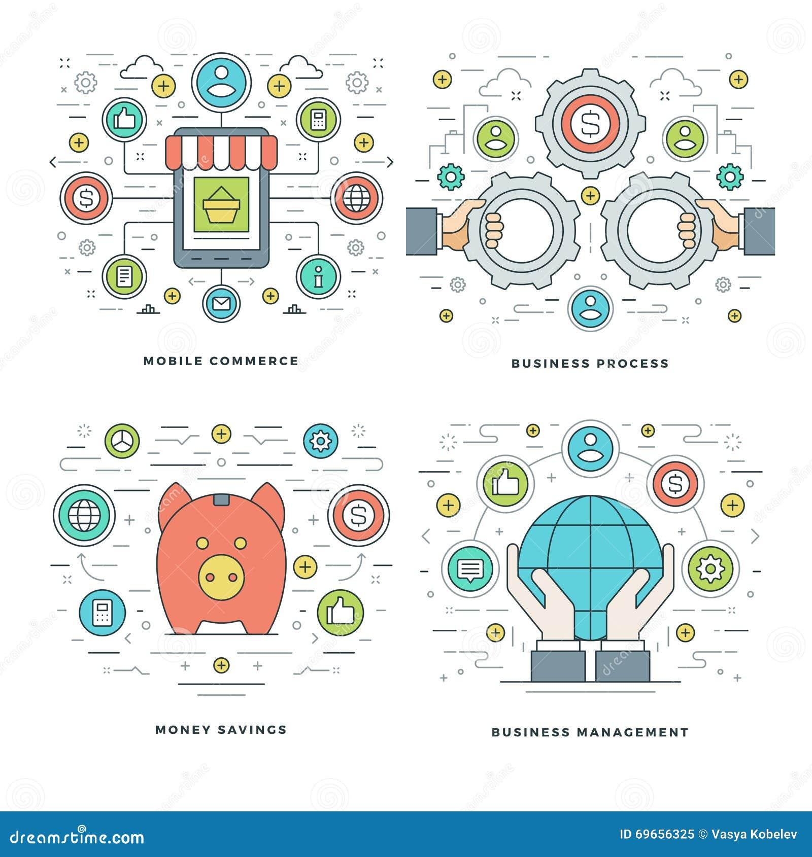 Flache Linie Geld-Einsparungen, Internet-Einkaufen, bewegliche Zahlungen, Geschäftsprozess-Konzepte stellte Vektorillustrationen
