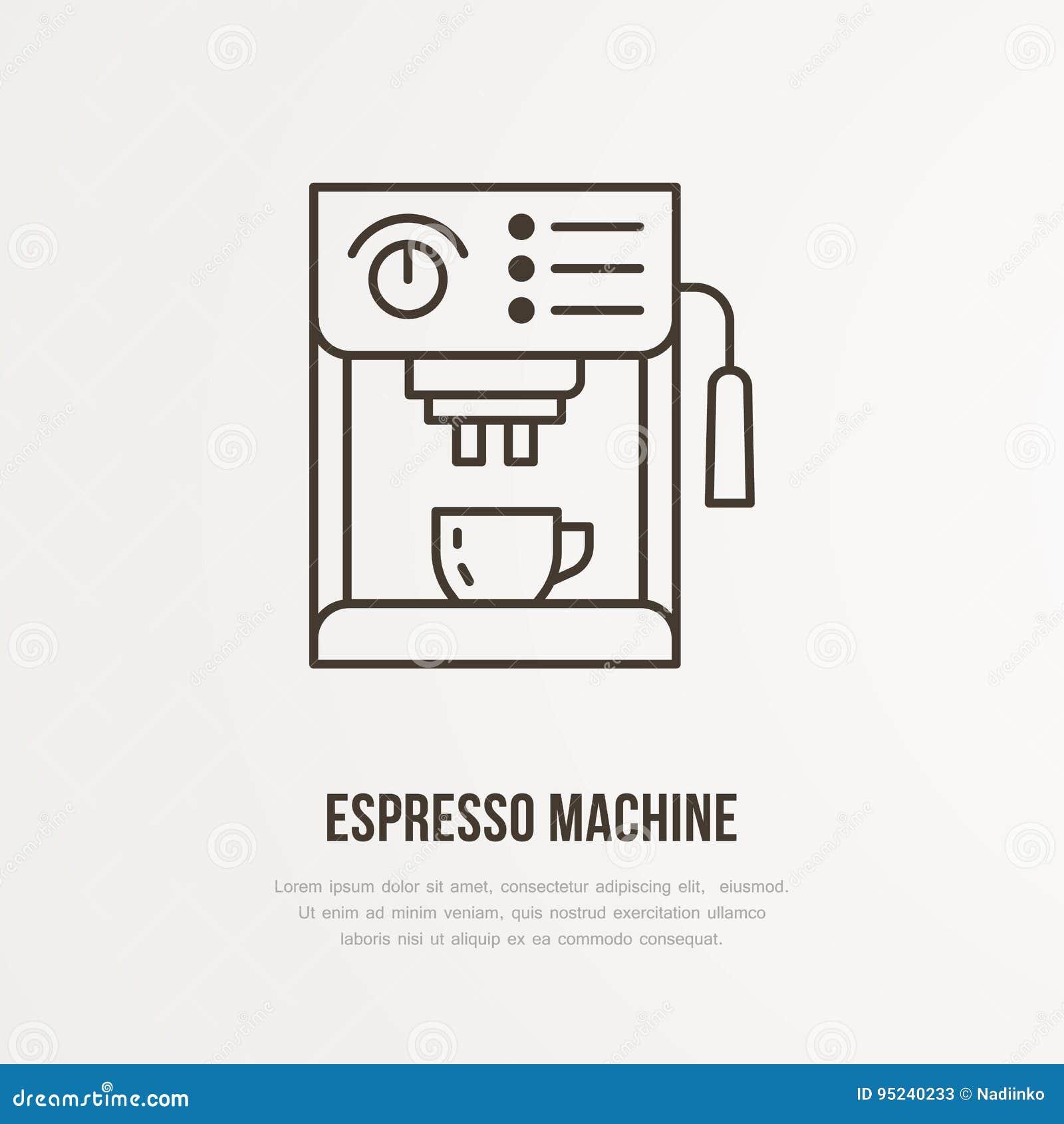 Flache Linie Ikone des Kaffeeespressomaschinen-Vektors Lineares Logo Barista-Ausrüstung Umreißen Sie Symbol für Café, halten Sie
