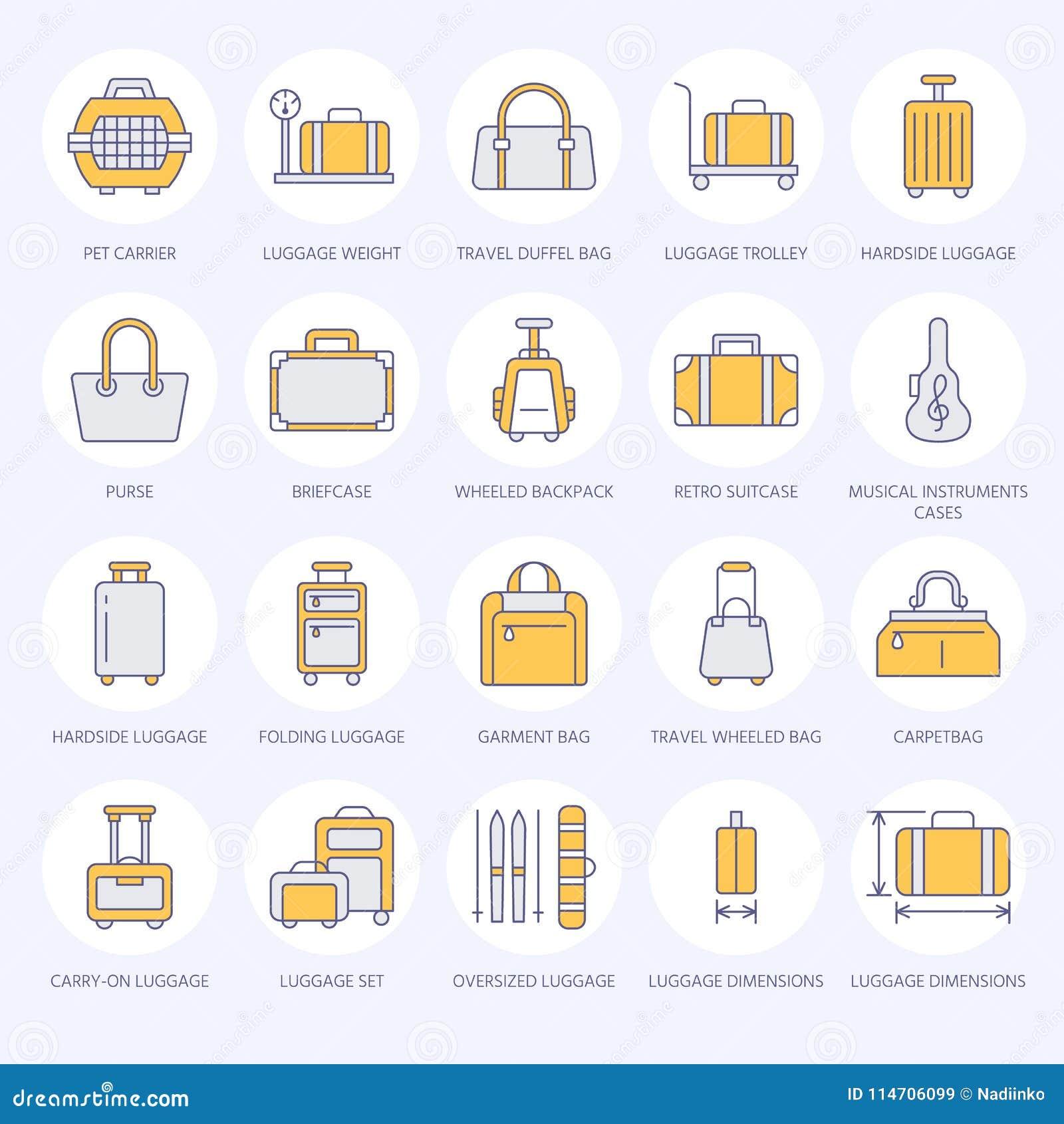 flache linie ikonen des gepäcks handgepäck, hardside koffer, drehte