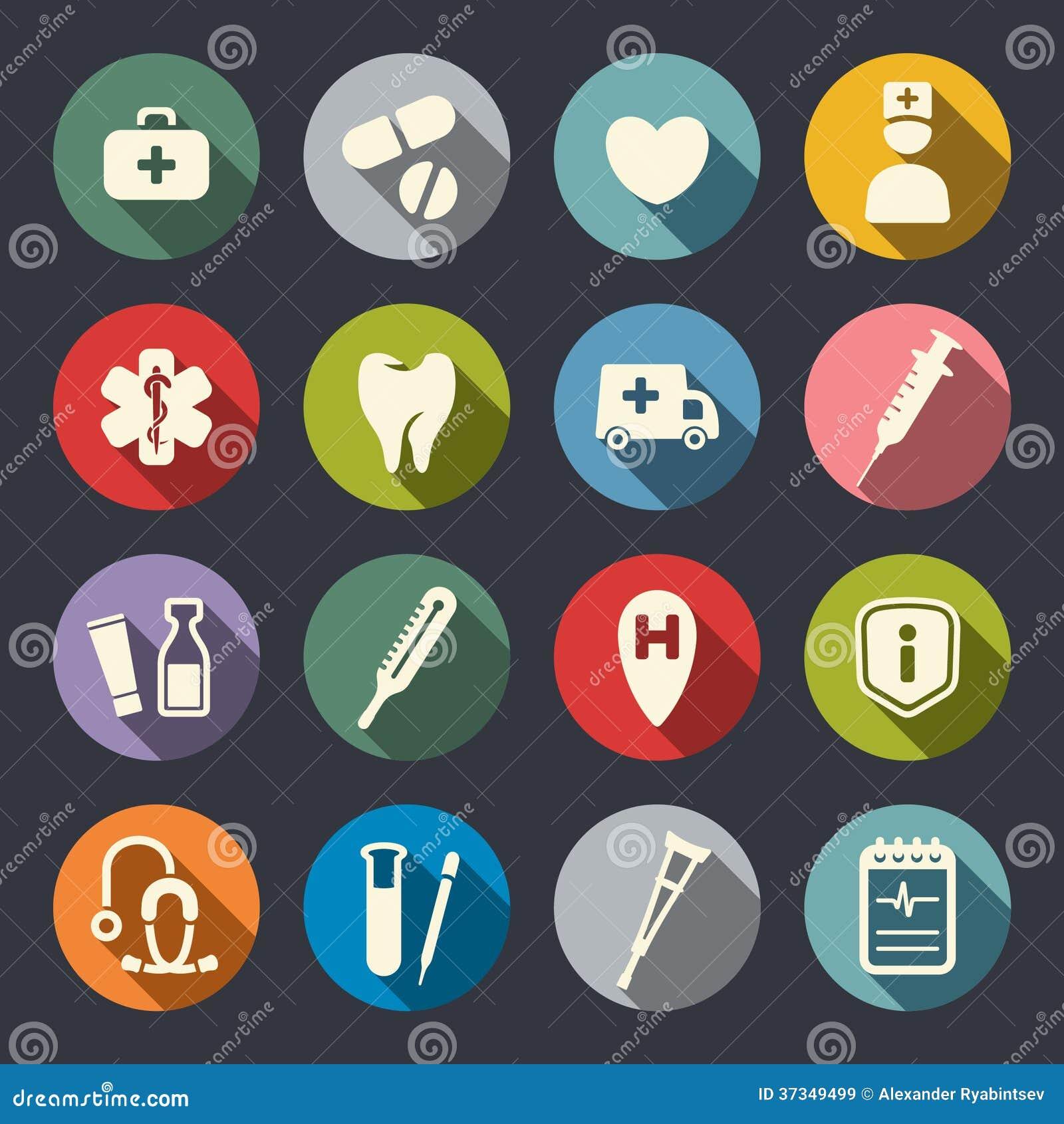 Flache medizinische Ikonen