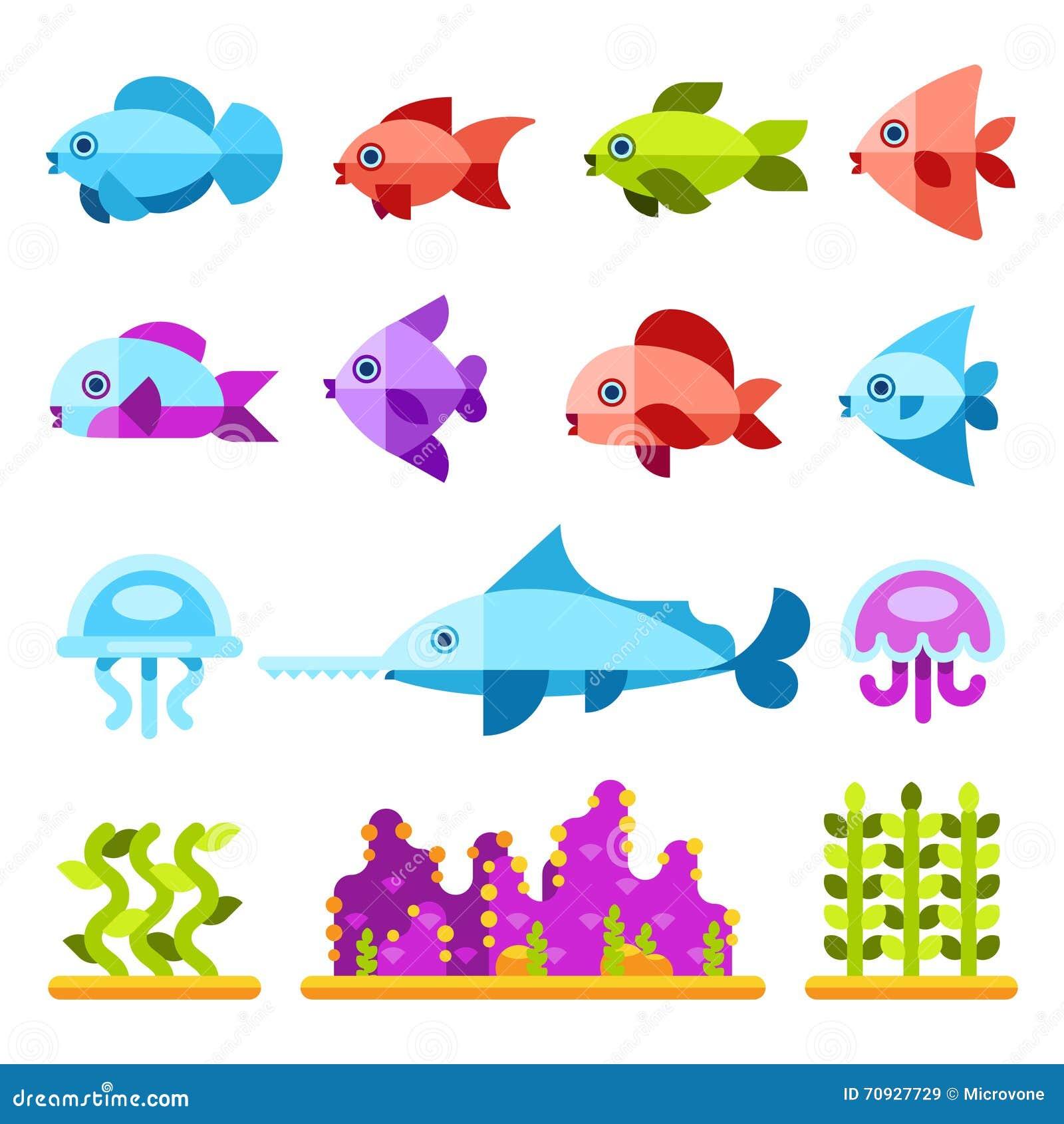 Flache Meerestiervektorikonen