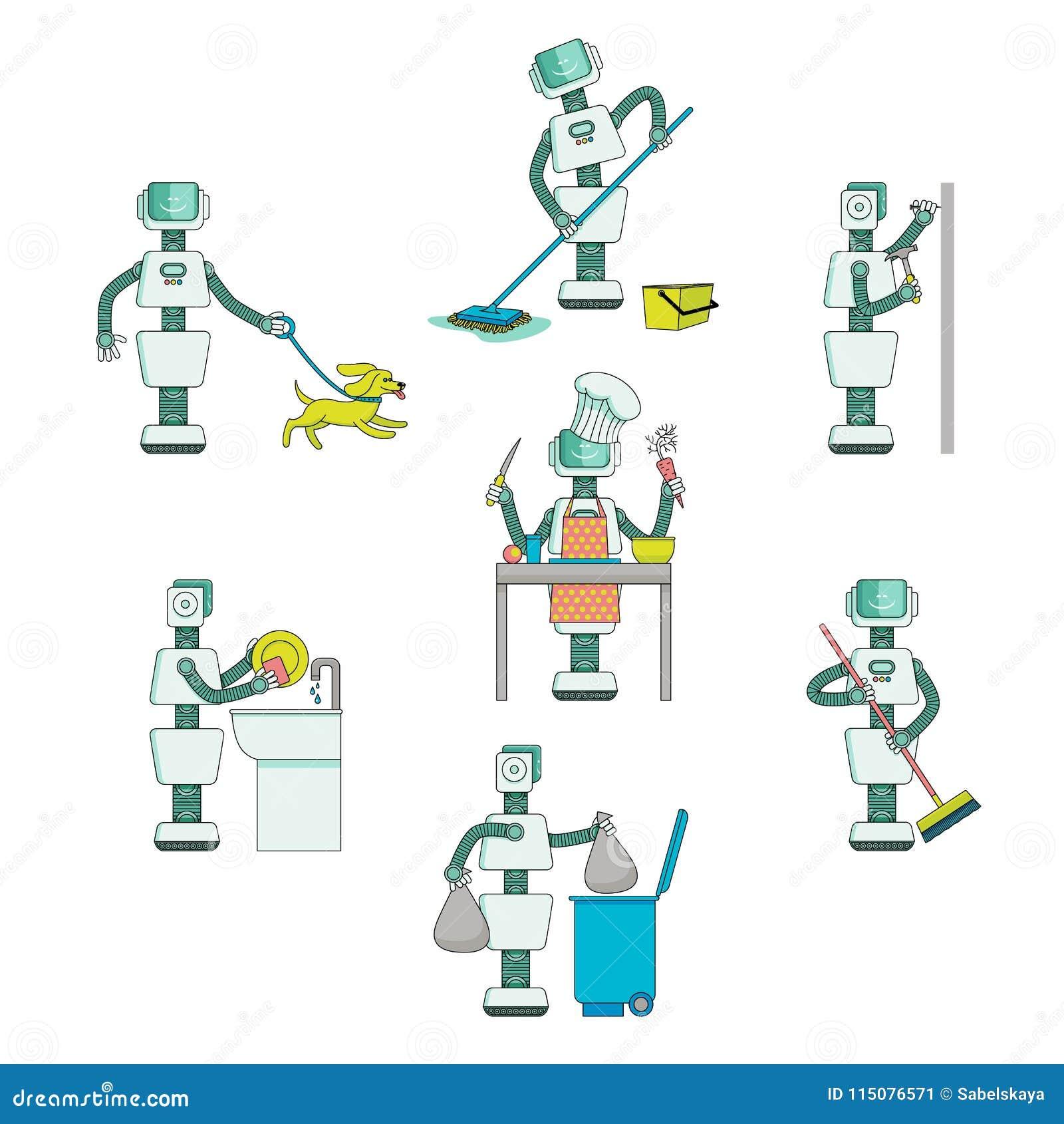 Flache Roboter Tun Routineaufgaben Hilfe Bei Der Hausarbeit Vektor
