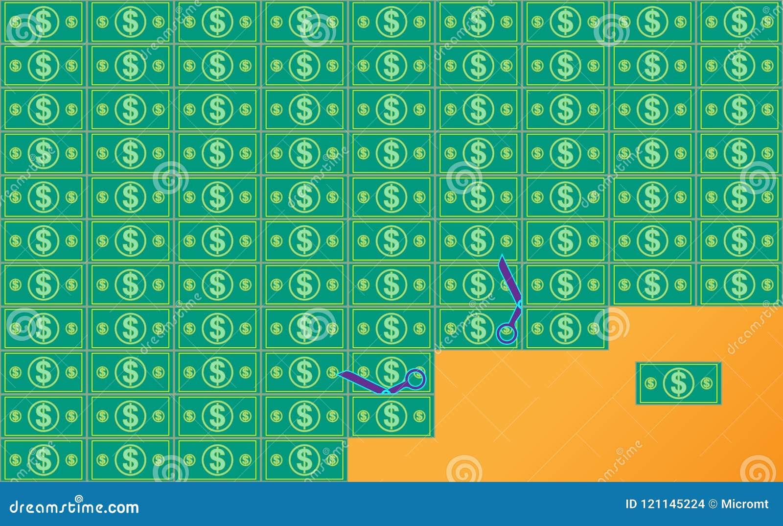 Flache Schnittdollar irgendeine Bezeichnung der Rechnung Reichtums-und Erfolgs-Hintergrund Geld Auch im corel abgehobenen Betrag