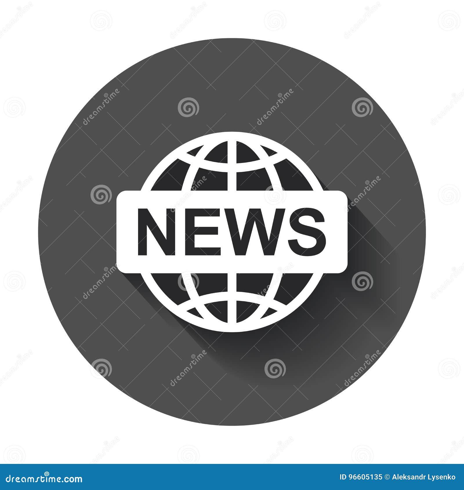 Flache Vektorikone Der Weltnachrichten Nachrichtensymbol ...