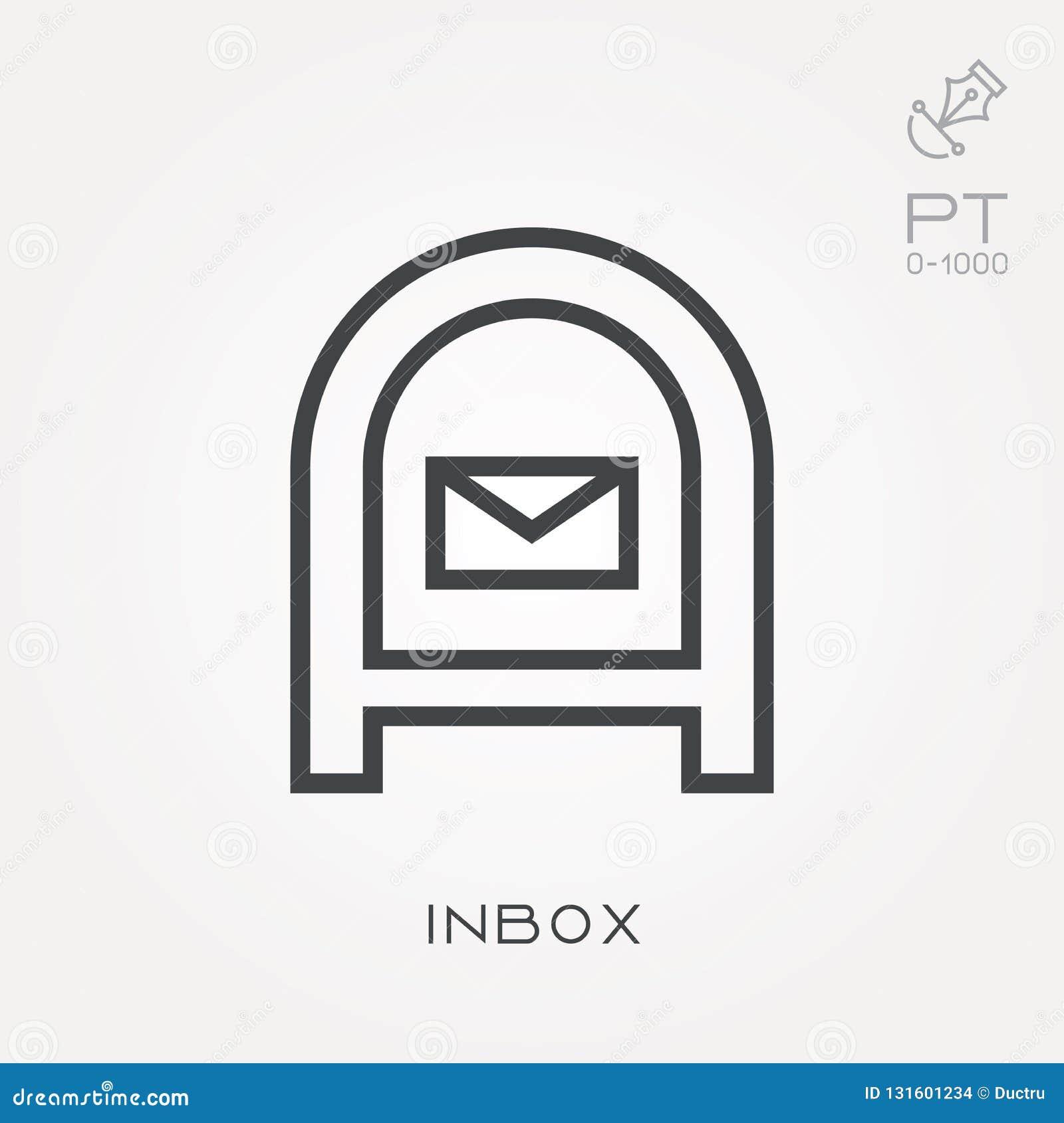 Flache Vektorikonen mit inbox