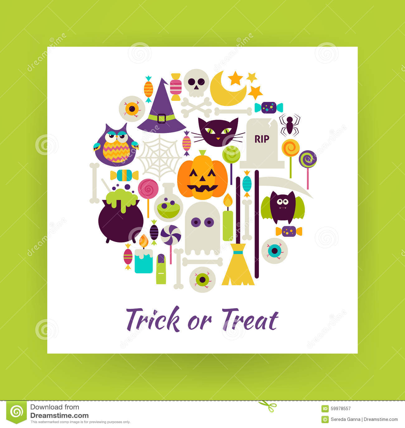 Flacher Art-Kreis-Vektor-Satz Gegenstände Halloweens Süßes Sonst ...