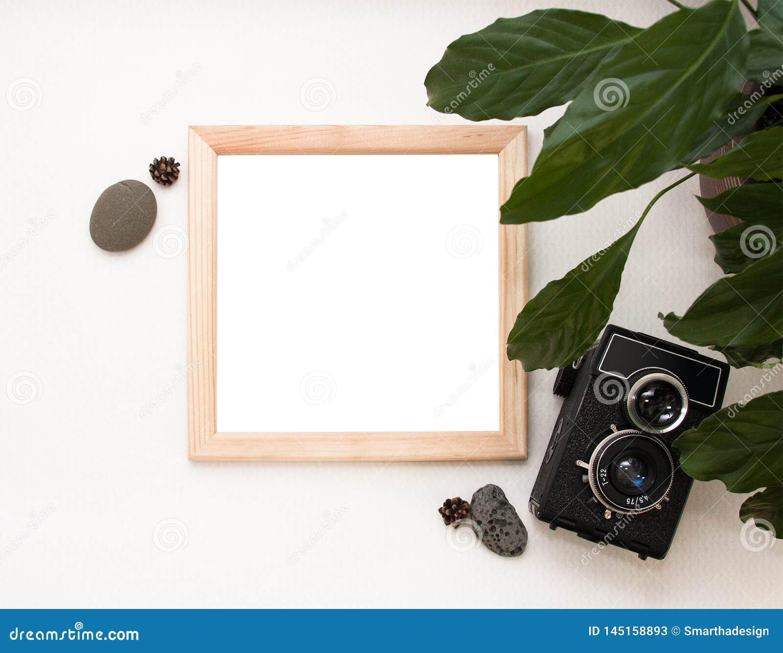 Flacher gelegter Spott oben, Draufsicht, Holzrahmen, alte Kamera, Anlage und Steine Innenplan, quadratisches Plakatmodell, hölze