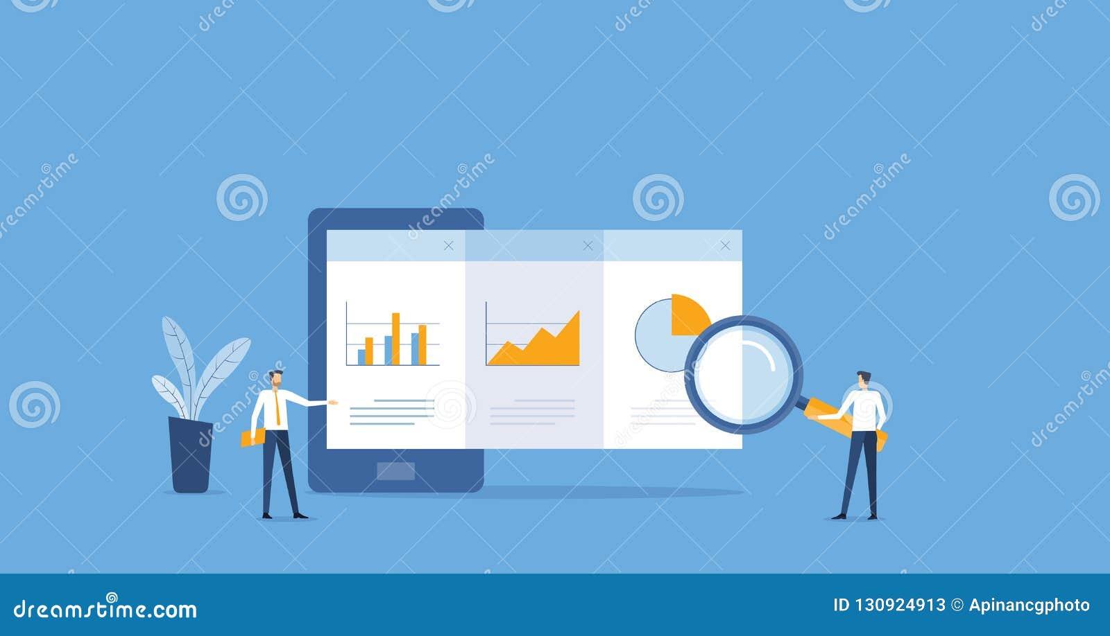 Flacher Geschäft Analytics und Überwachung des Finanzberichtsdiagramms auf Mobile