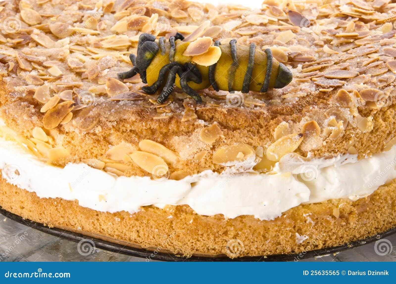 Flacher Kuchen Mit Einer Mandel Und Einem Zucker Stockbild Bild