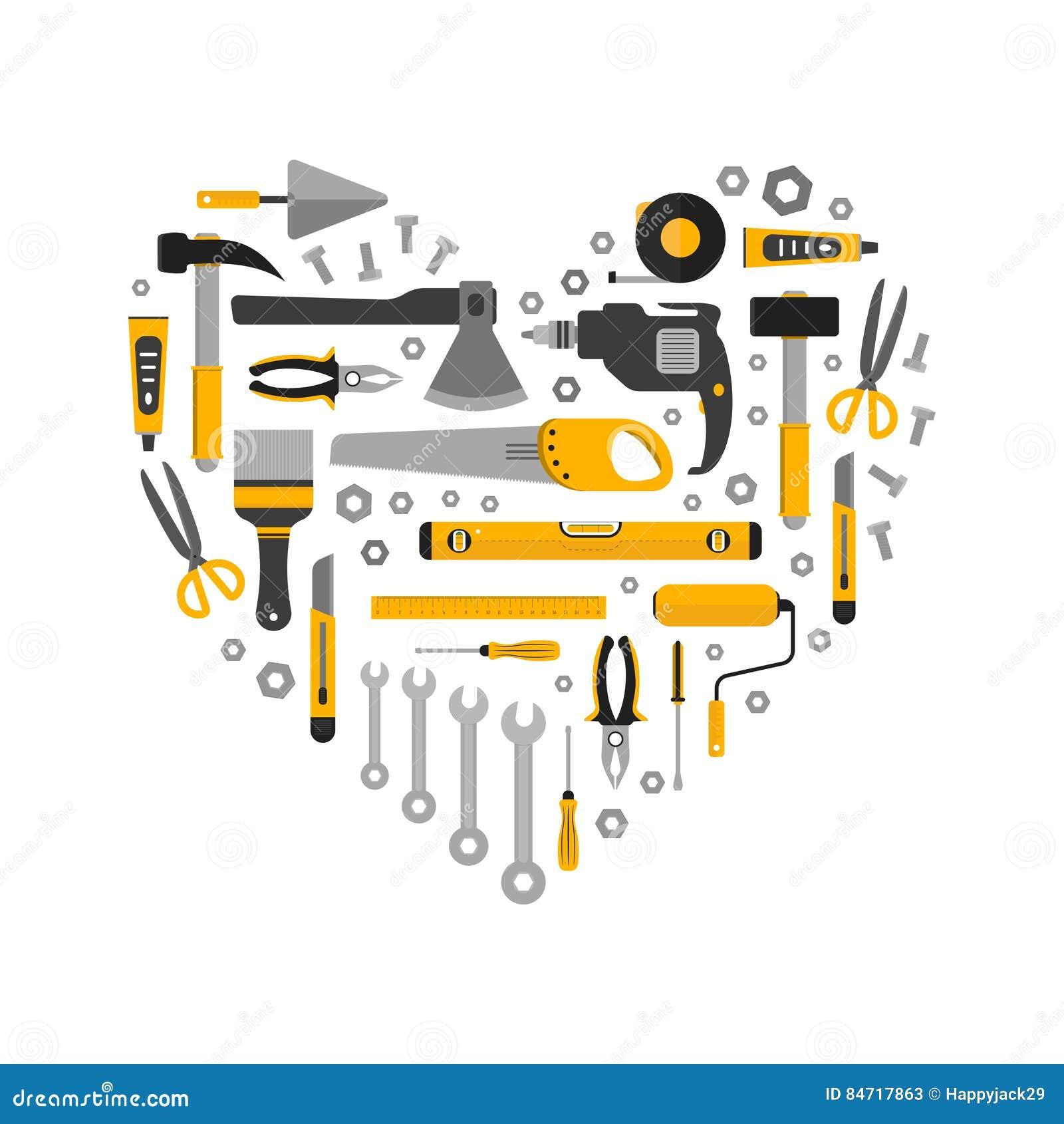 Flacher Satz Arbeitsgeräte in der Herzform