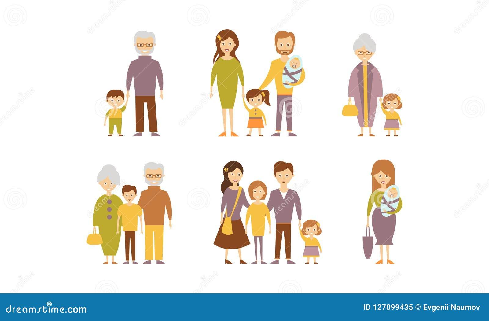 Flacher Vektorsatz Familien Eltern mit Kindern, Großmüttern und Großvätern mit Enkelkindern Karikaturleute