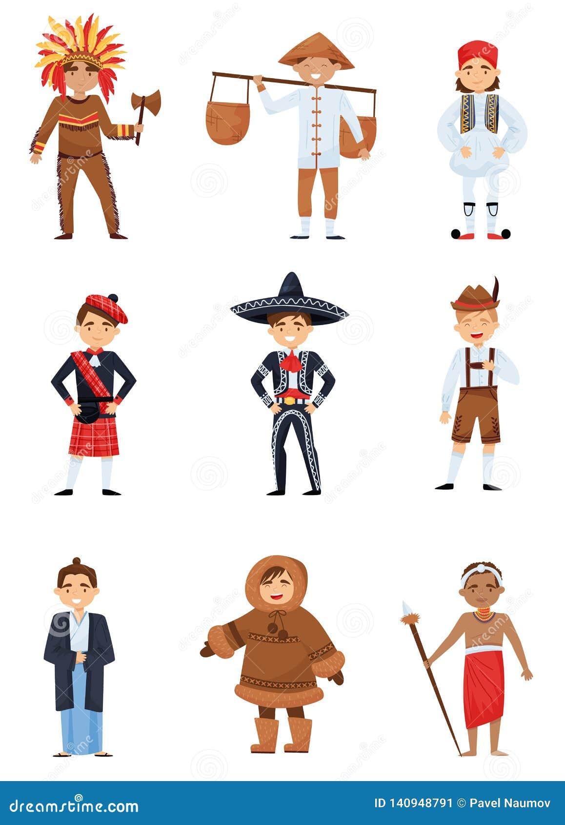 Flacher Vektorsatz Jungen in den nationalen Kostümen von verschiedenen Ländern Lächelnde Kinder in der verschiedenen traditionell