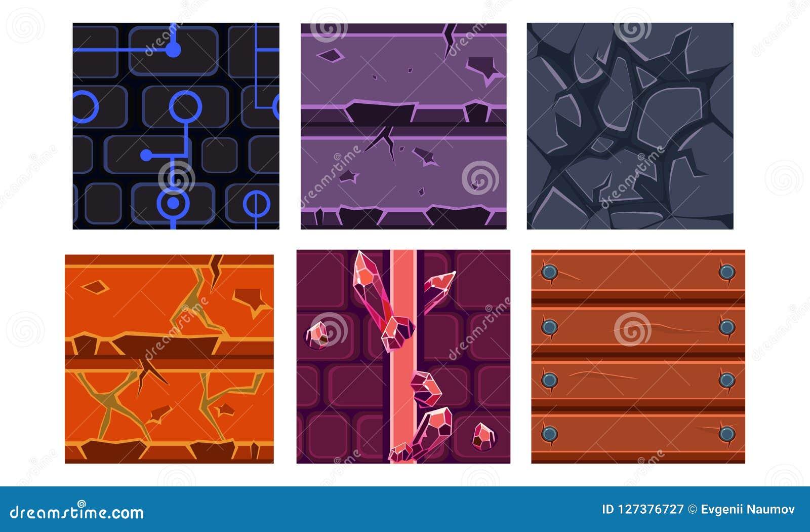 Flacher Vektorsatz von 6 nahtlosen Beschaffenheiten und von Materialien für bewegliche Spiele Ziegelstein, Edelstein, fester Stei