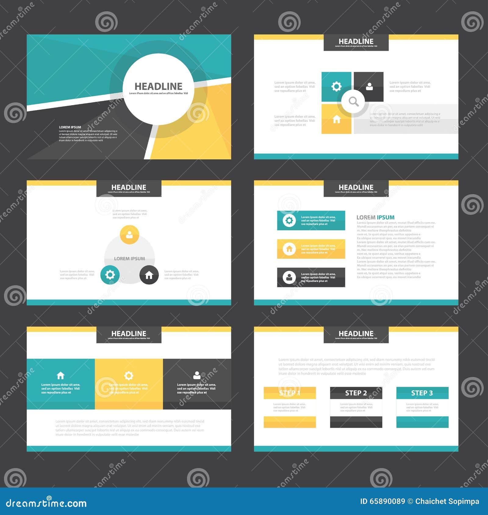 Flaches Design Grüner Gelber Darstellungsschablonen Infographic ...