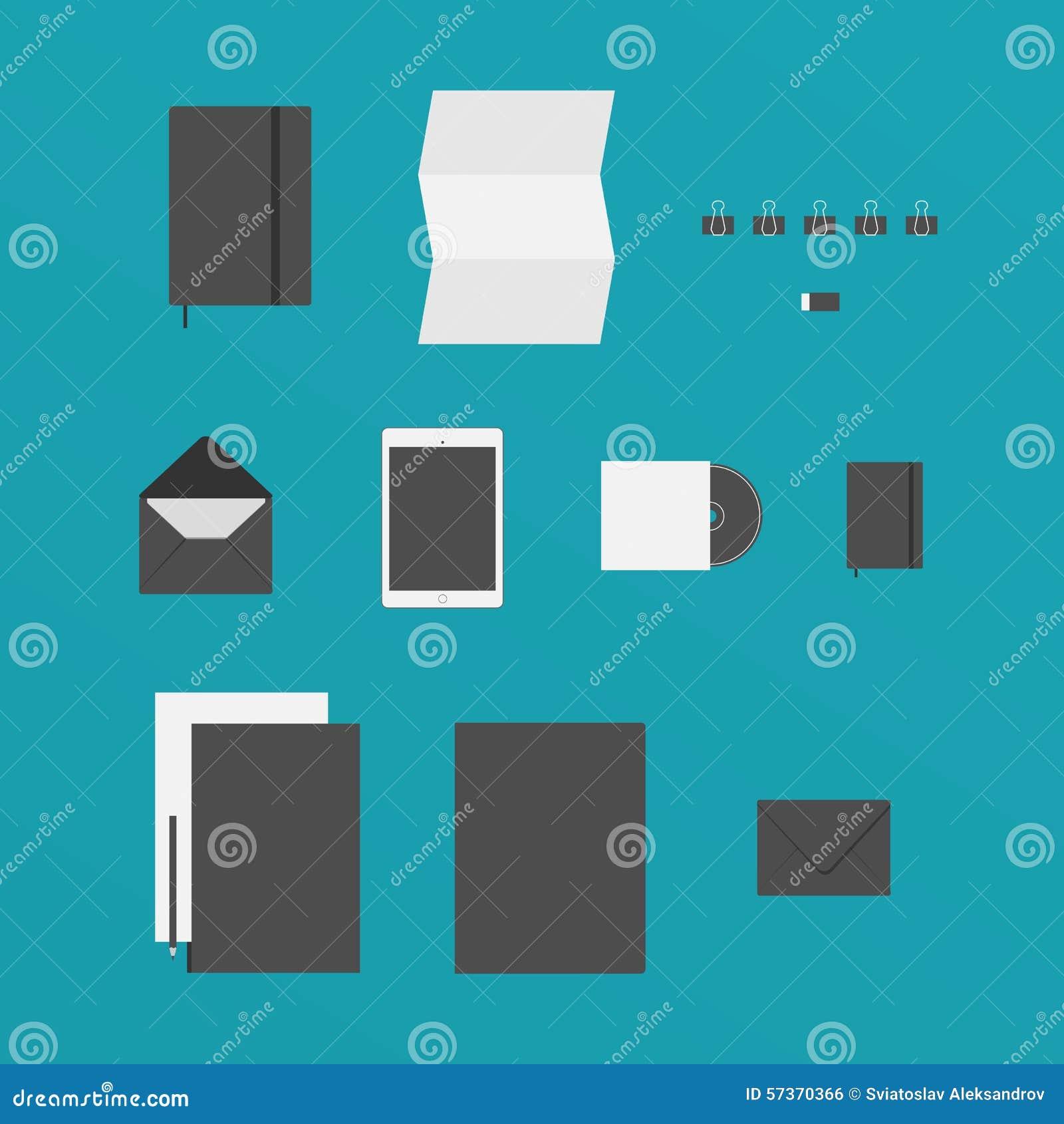 Flaches Design Von Buro Material Mogen Ein Papier Ein Tablet
