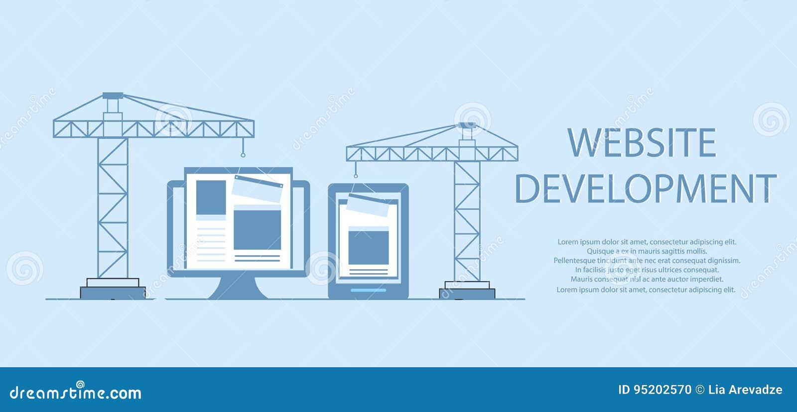 Flaches Design von Website im Bau, Webseitenbauprozess, StandortFormularaufbau der Web-Entwicklung