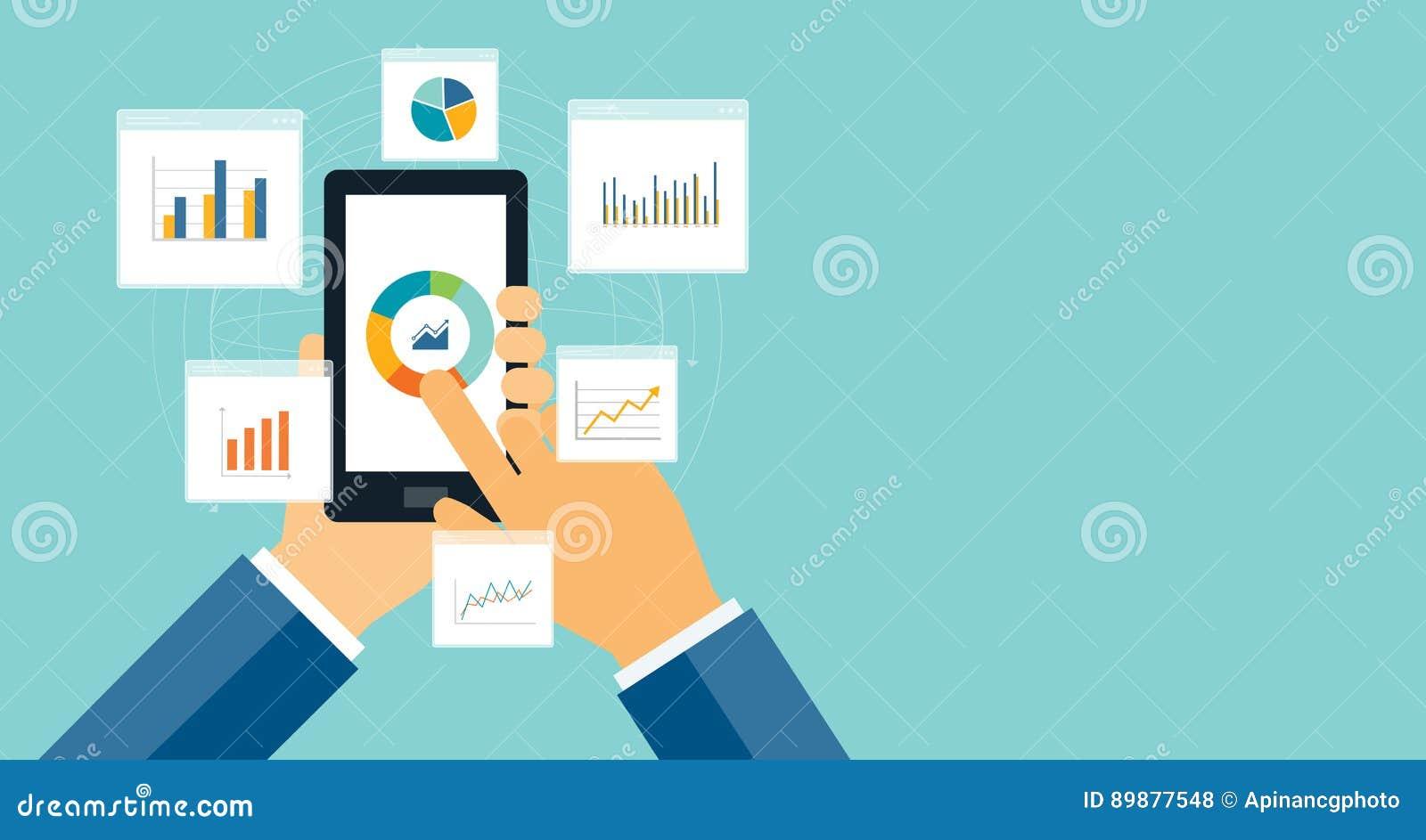 Flaches Geschäftsanalytikdiagramm auf tragbarem Gerät
