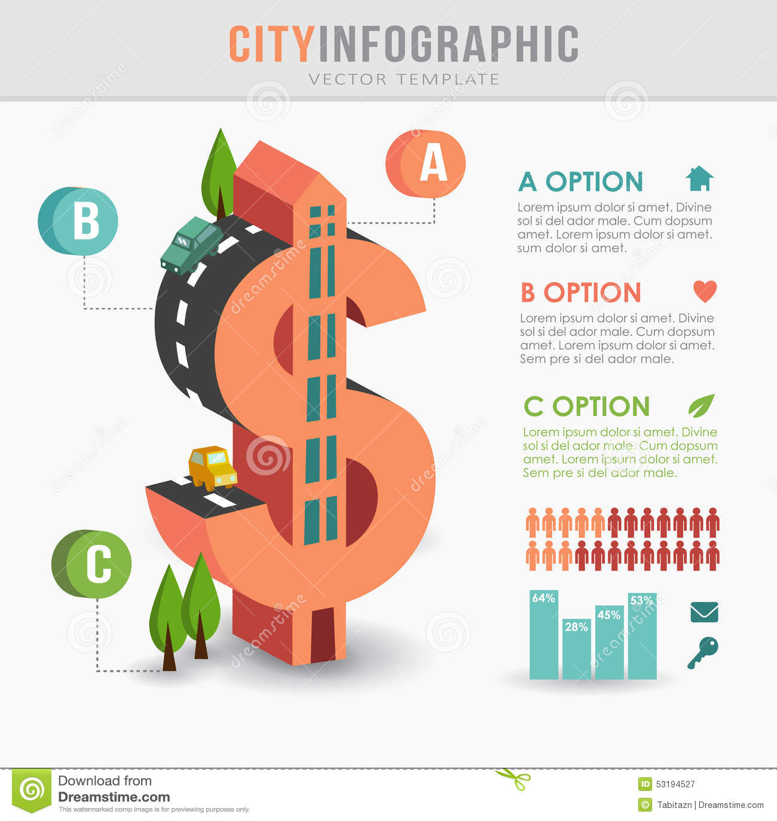 Flaches isometrisches infographics Infrastruktur der Stadt 3D, Dollarform