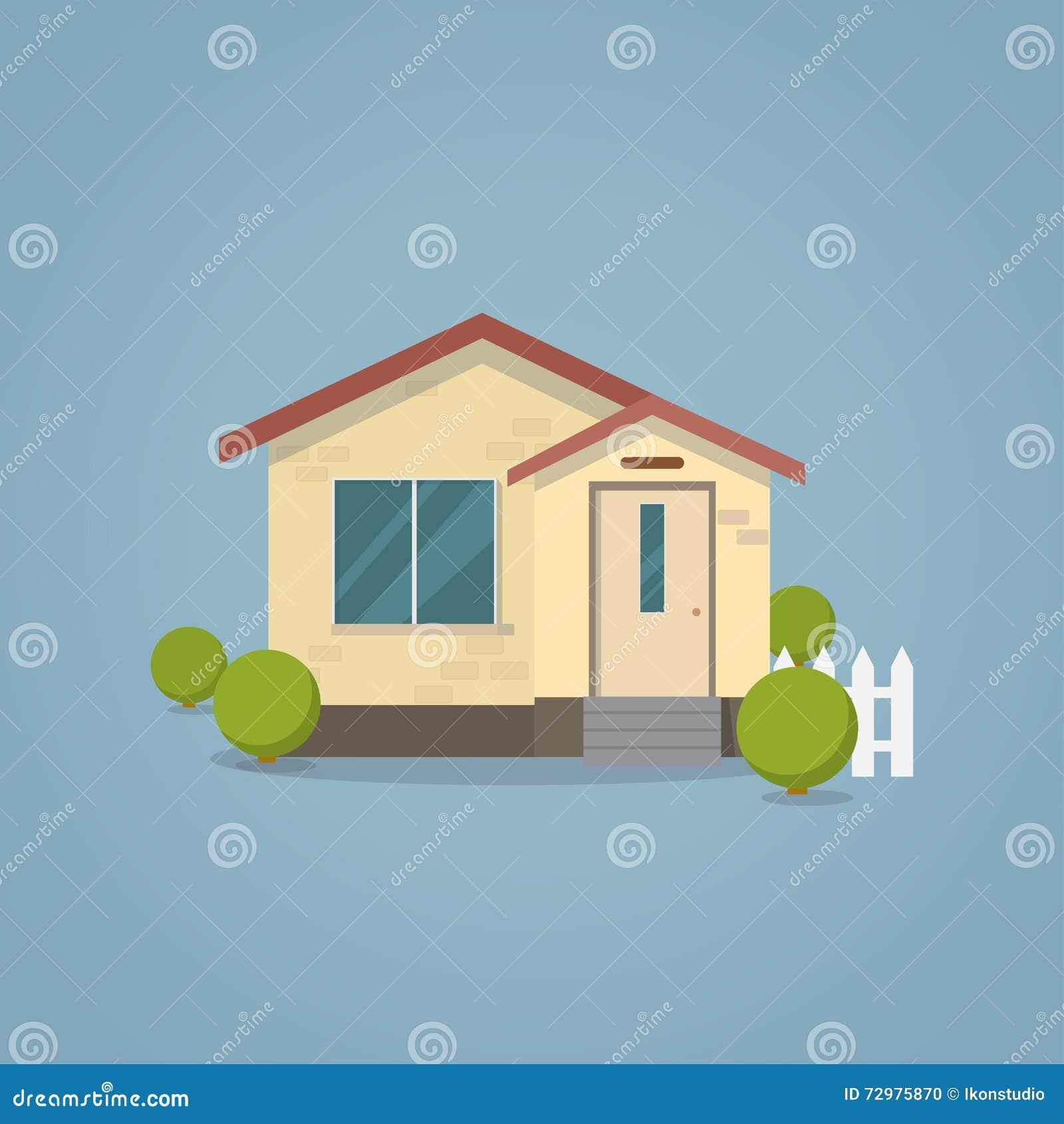 Flaches klassisches Haus